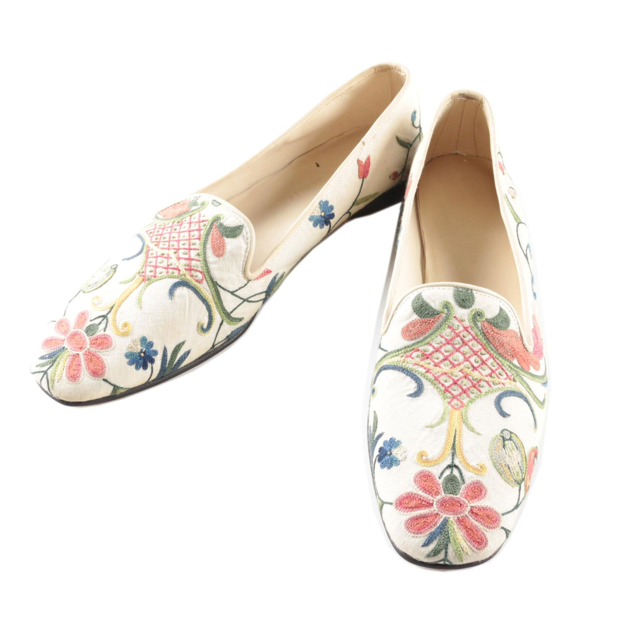 Women's Floral Embroidered Slip Ons