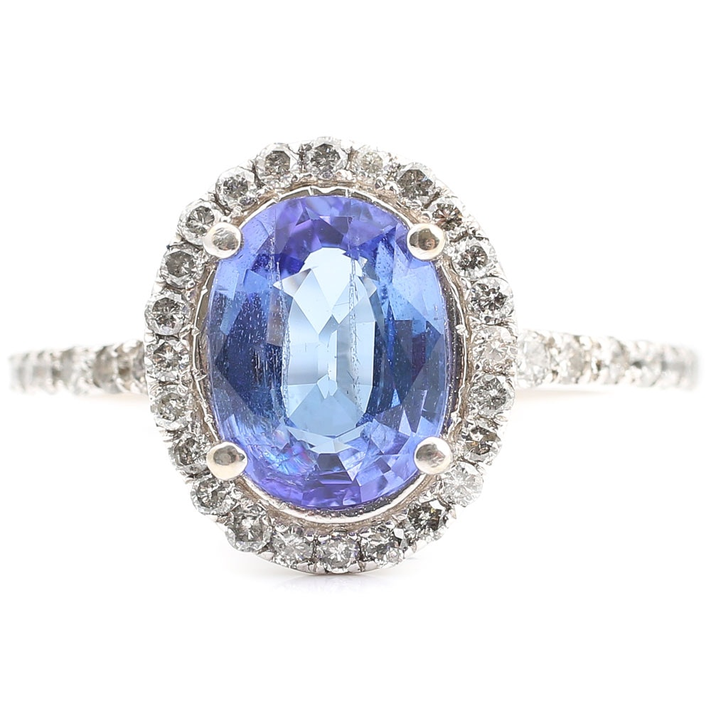 14K White Gold 1.88 CT Tanzanite and Diamond Halo Ring