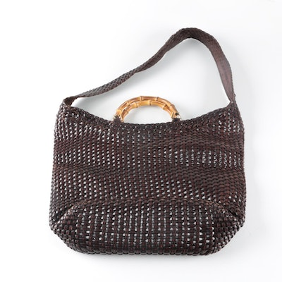 35ce2748290c Gucci Woven Leather Hobo Bag with Bamboo Handle