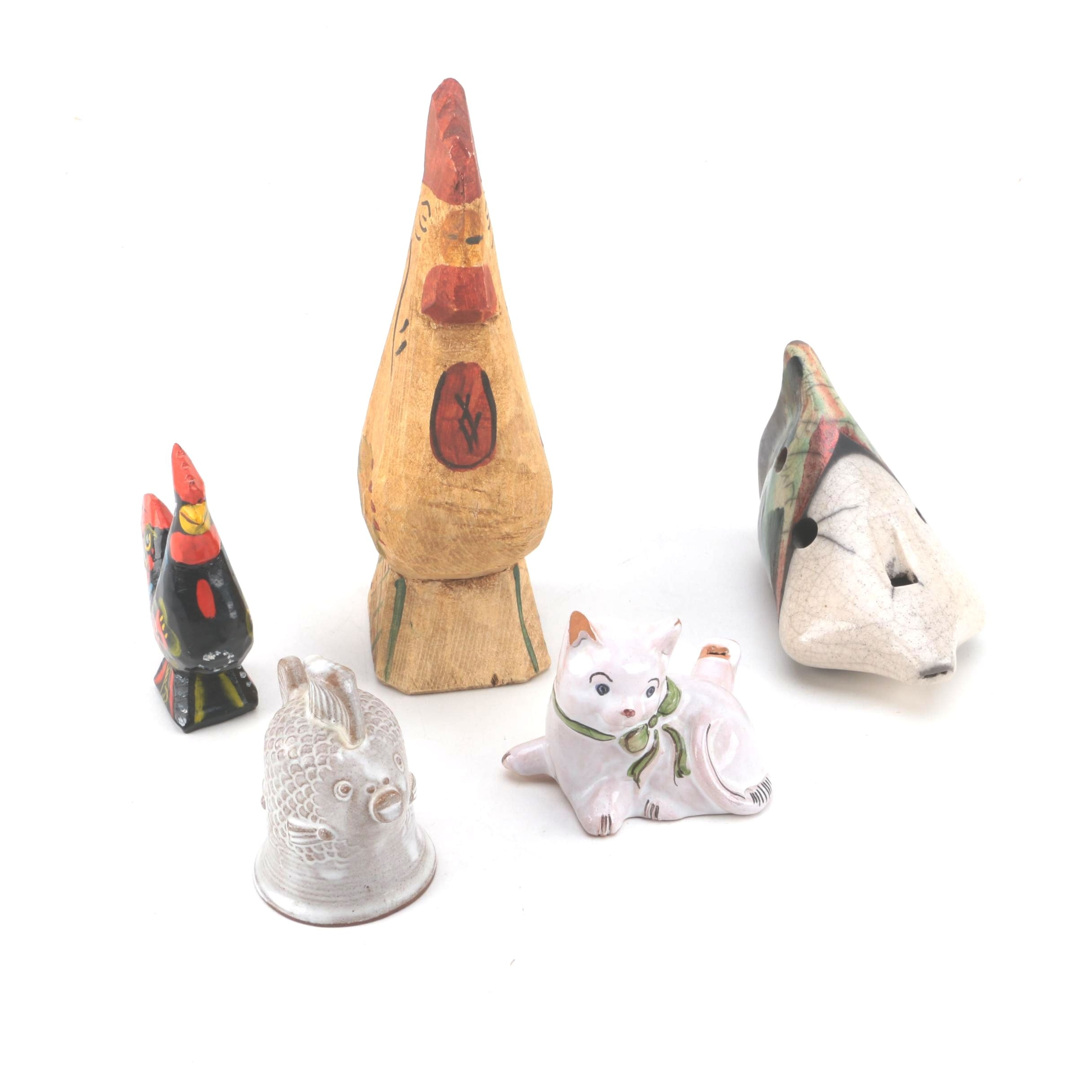 Wood and Ceramic Animal Figurines