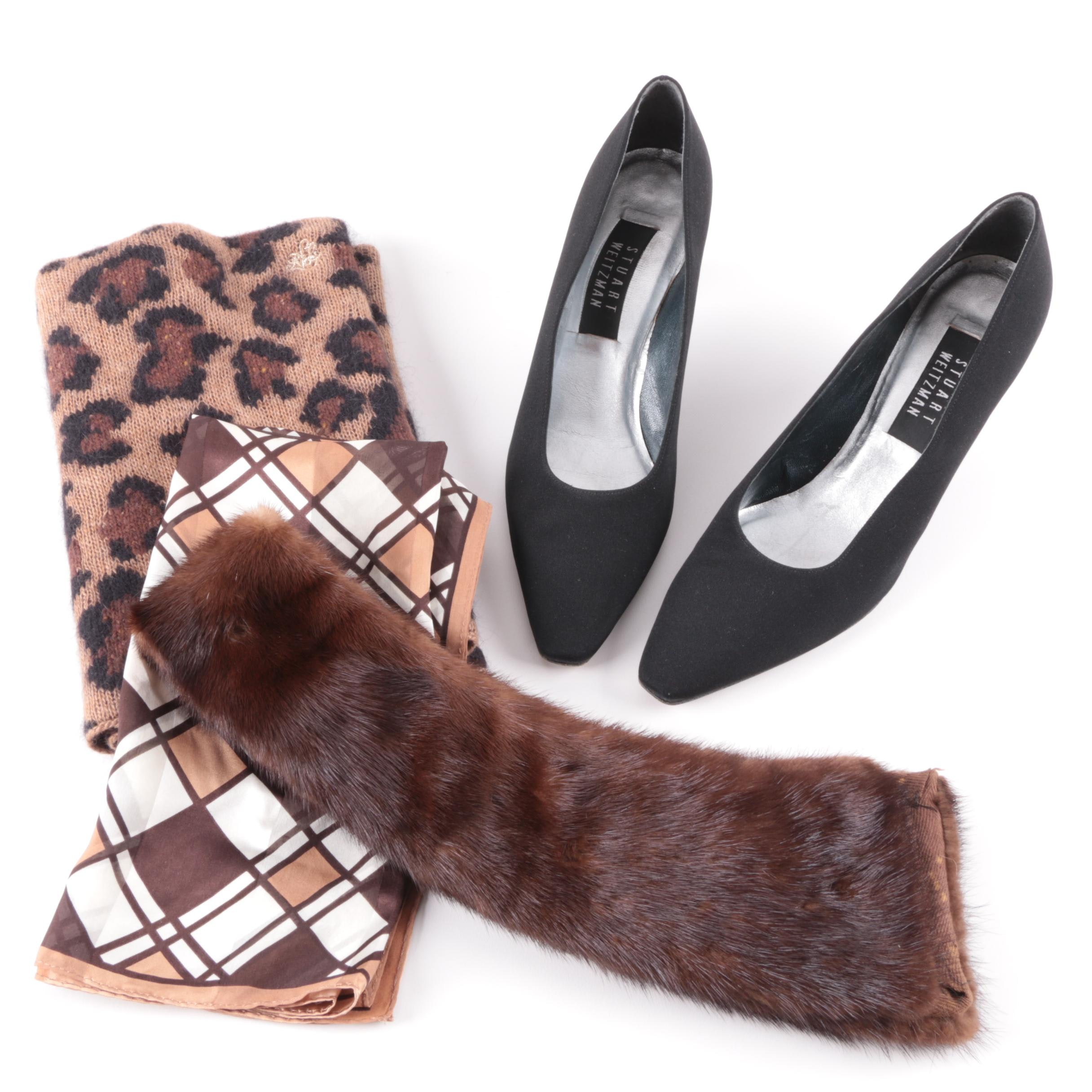 Stuart Weitzman Pumps, Brown Mink Fur Collar and Scarves
