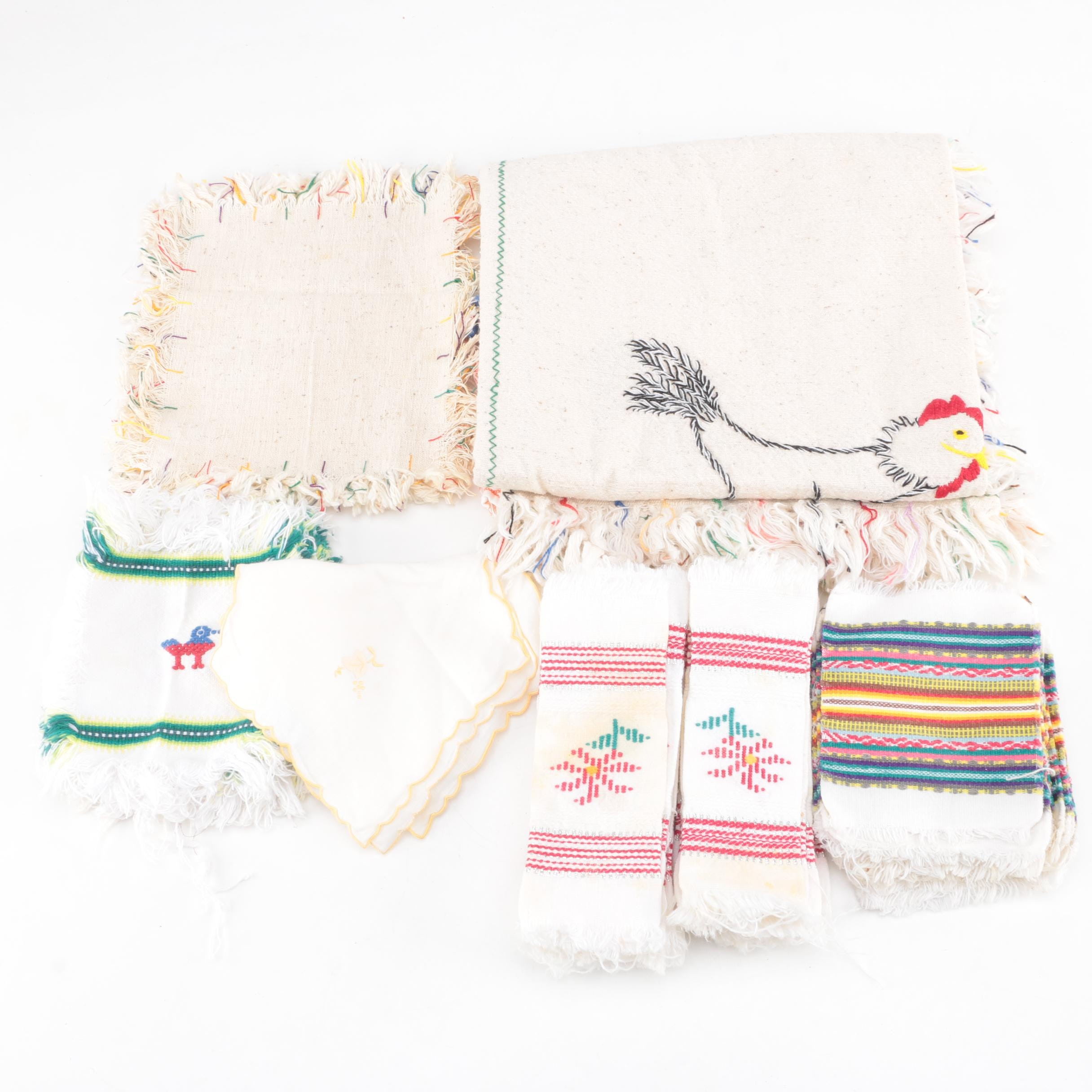 Vintage Embroidered Table Linens