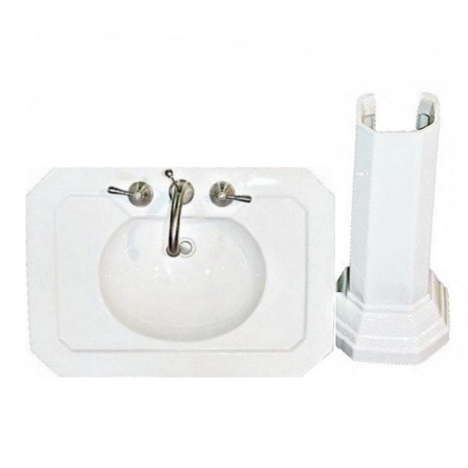 Kallista White Porcelain Pedestal Sink With Moen Faucet ...