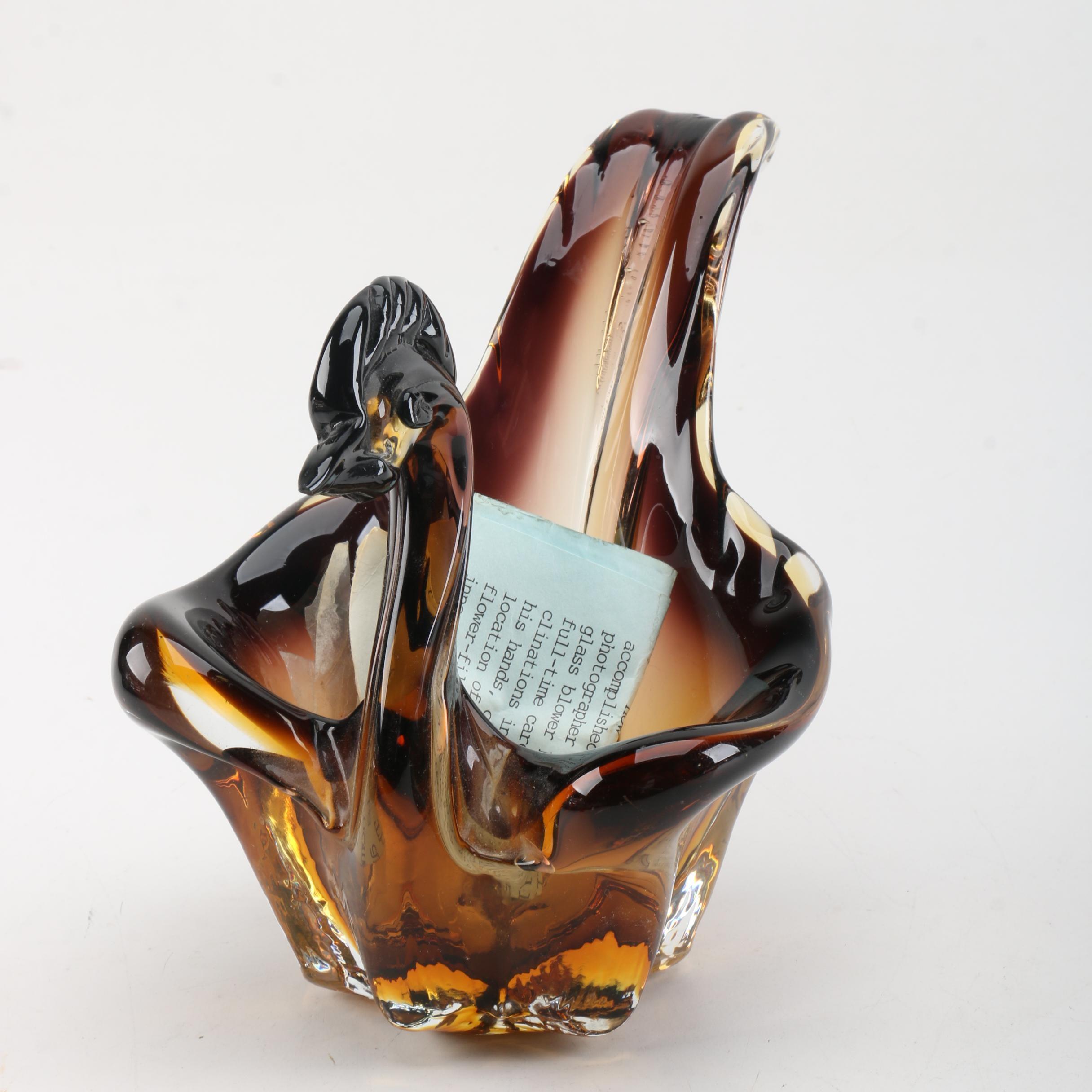 Art Glass Swan Figurine by Rollin Karg