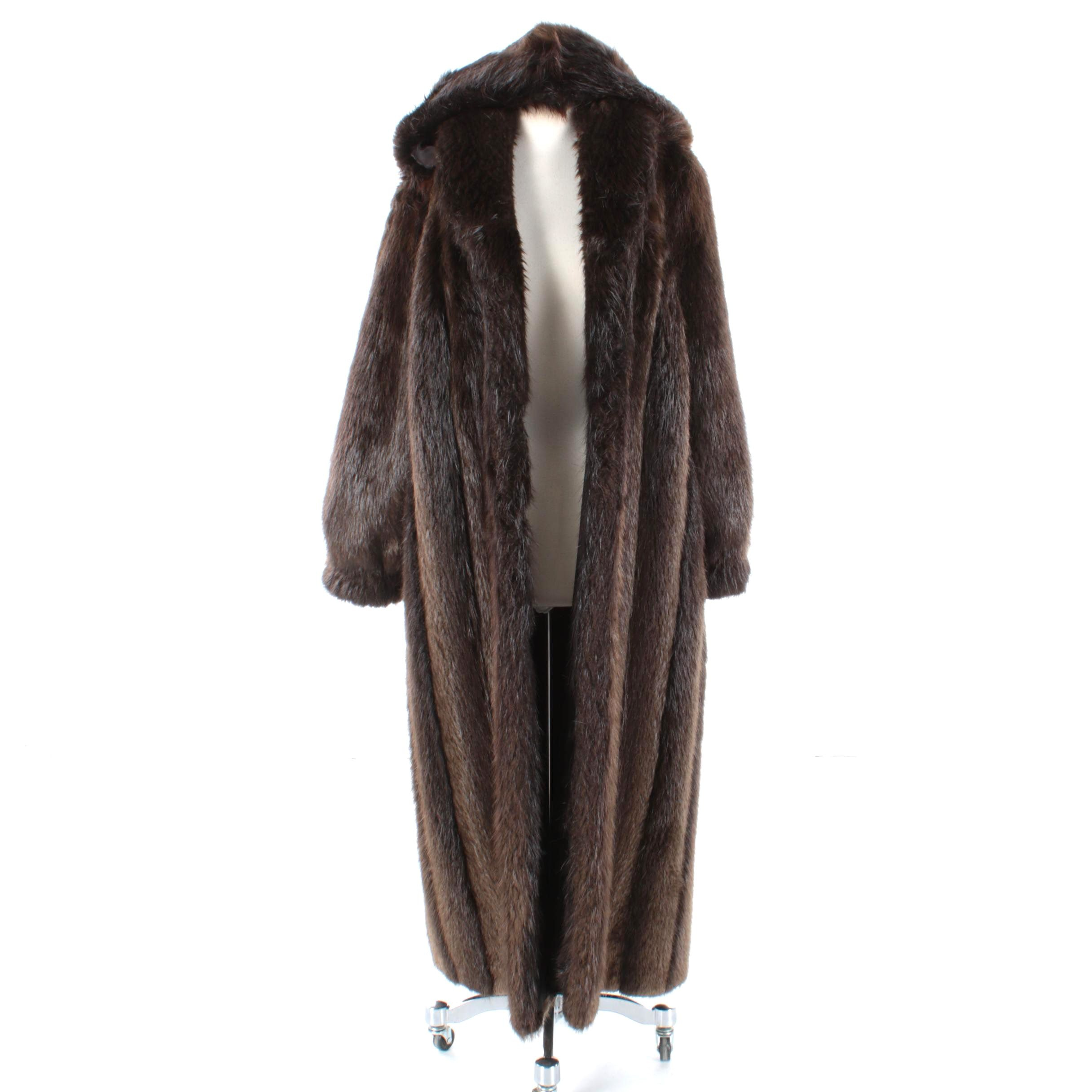 Women's HF Hinsdale Furriers Beaver Fur Coat with Removable Hood