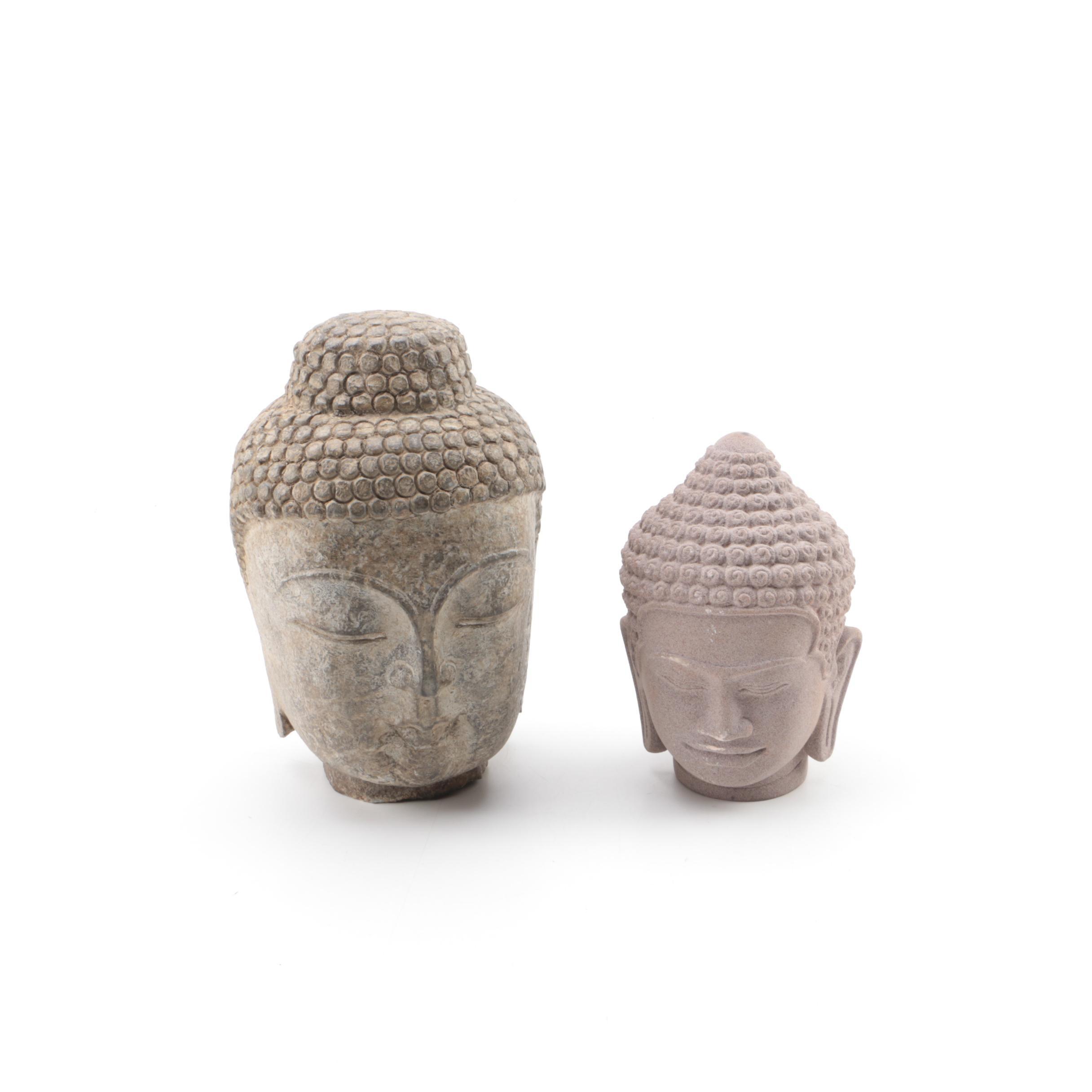 Carved Stone Buddha Heads