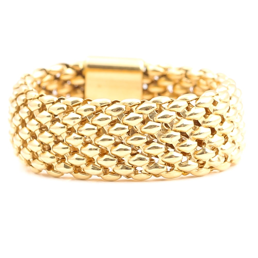 18K Yellow Gold Mesh Ring from Italy