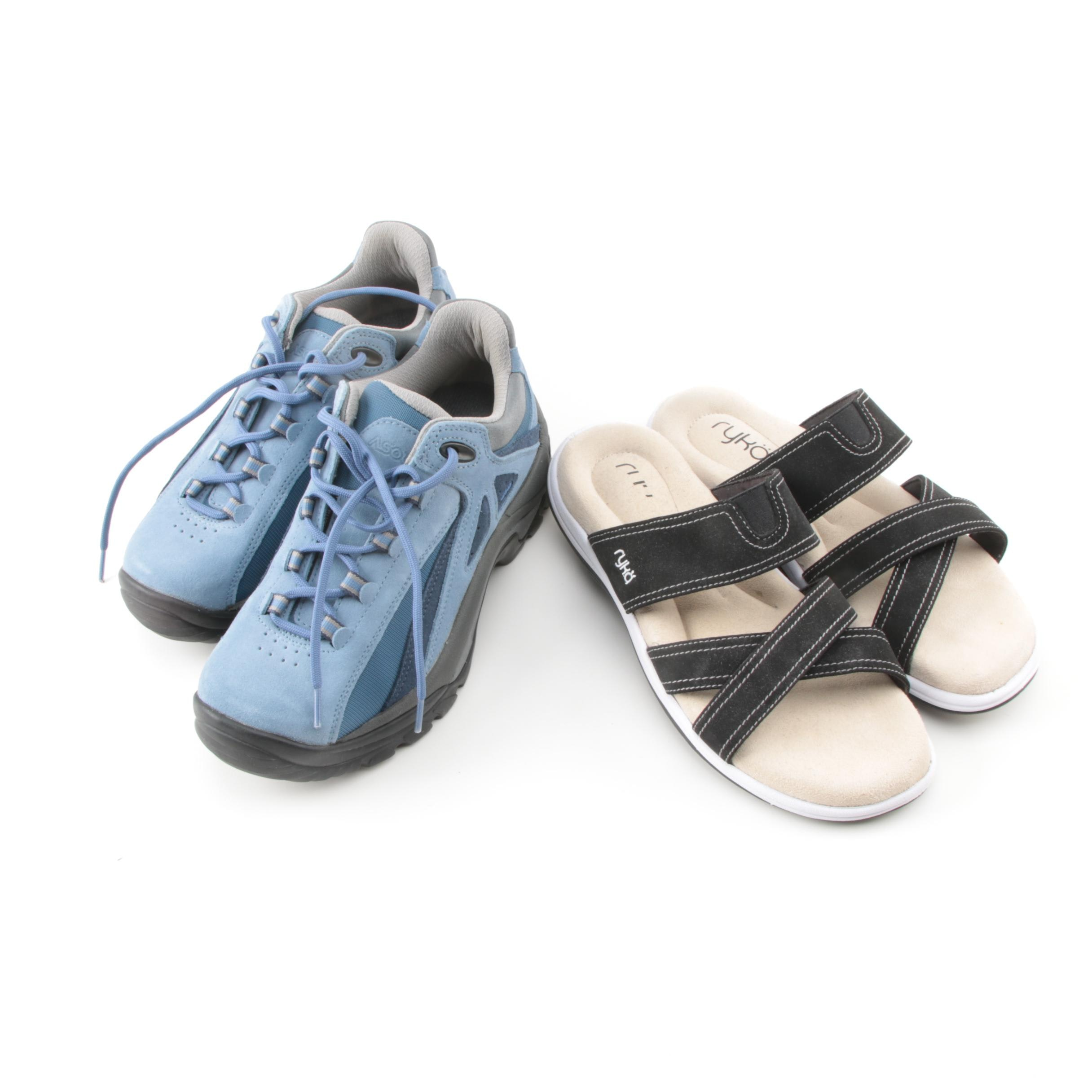 Women's Asolo Hiking Shoes and Ryko Black Sandals
