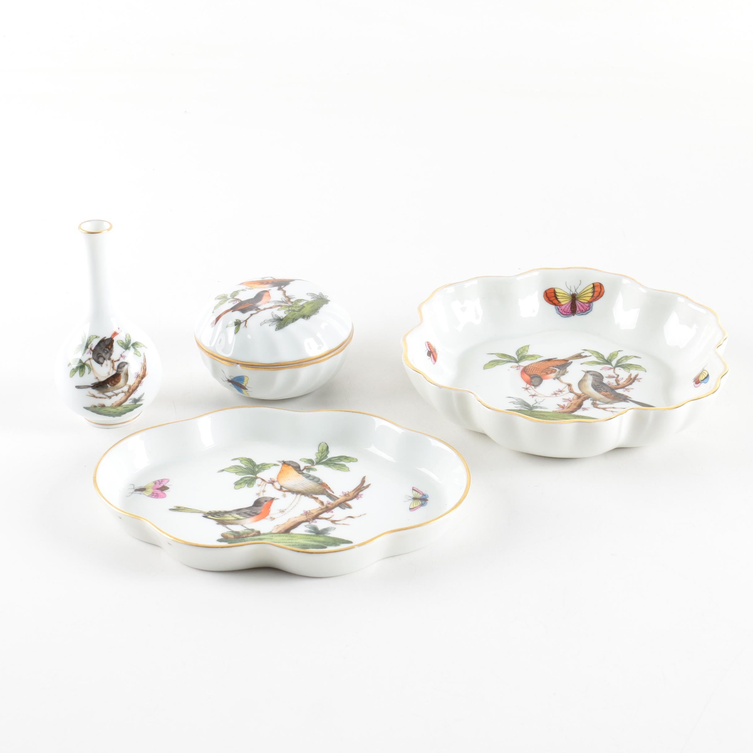 "Herend Hungary ""Rothschild Bird"" Porcelain Dishes and Vase"
