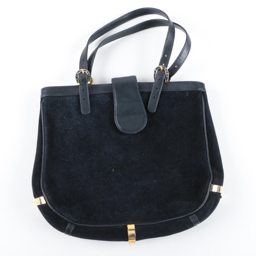 5ccdfe65450 Vintage Gucci Navy Blue Suede Handbag   EBTH