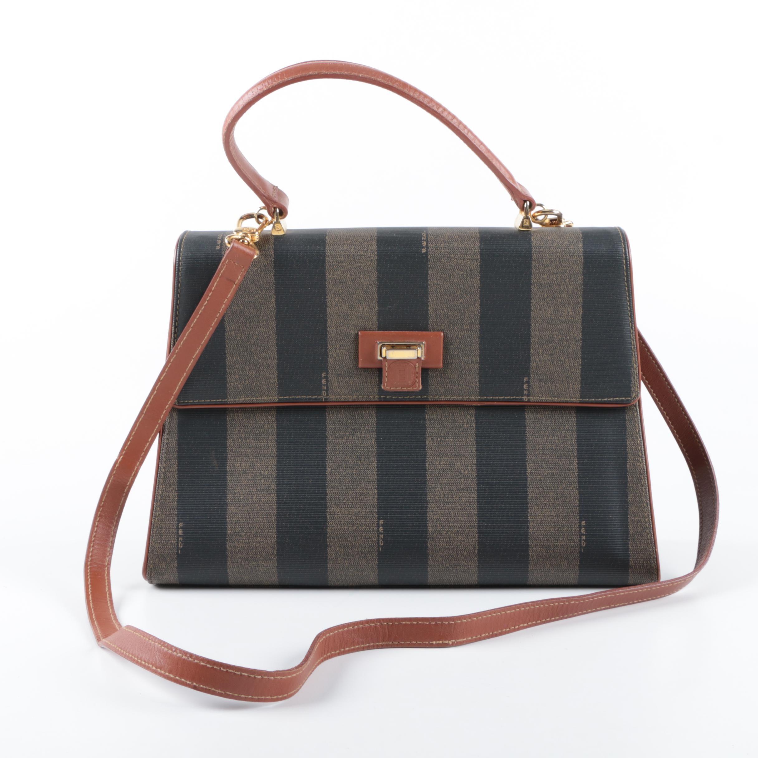 Vintage Fendi Pequin Stripe Satchel