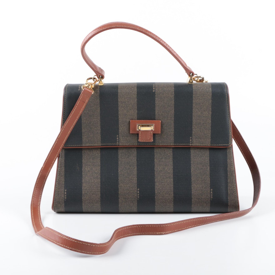 Vintage Fendi Pequin Stripe Satchel   EBTH e8c3c388b709e