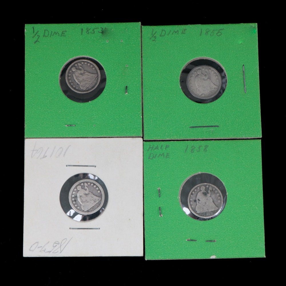 Four Seated Liberty Silver Half Dimes