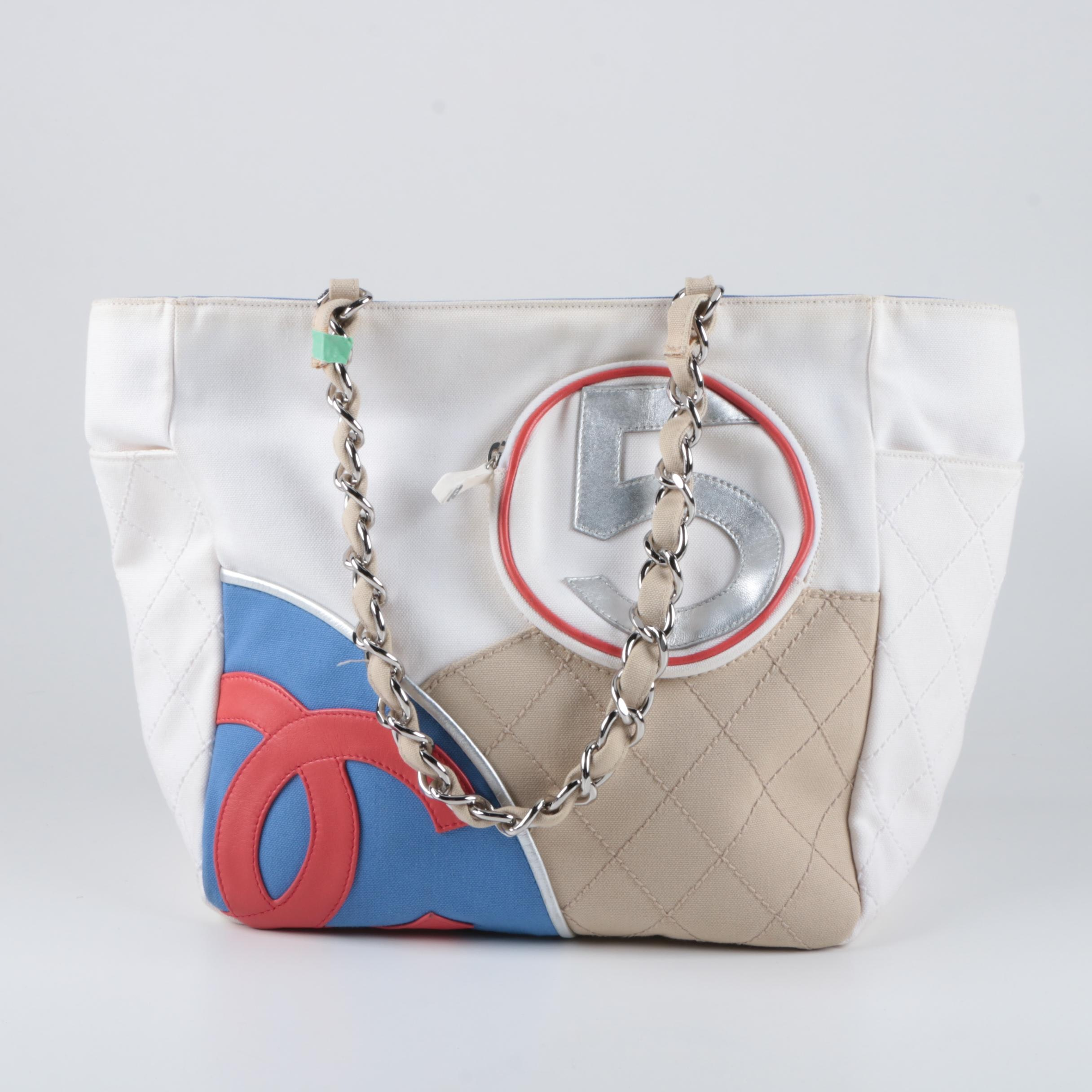 Chanel Blue and Red Canvas Tote