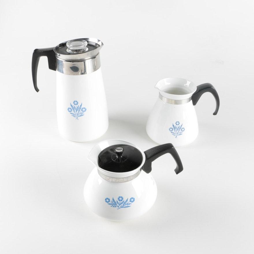 Corning Ware Blue Cornflower Tea And Coffee Pots