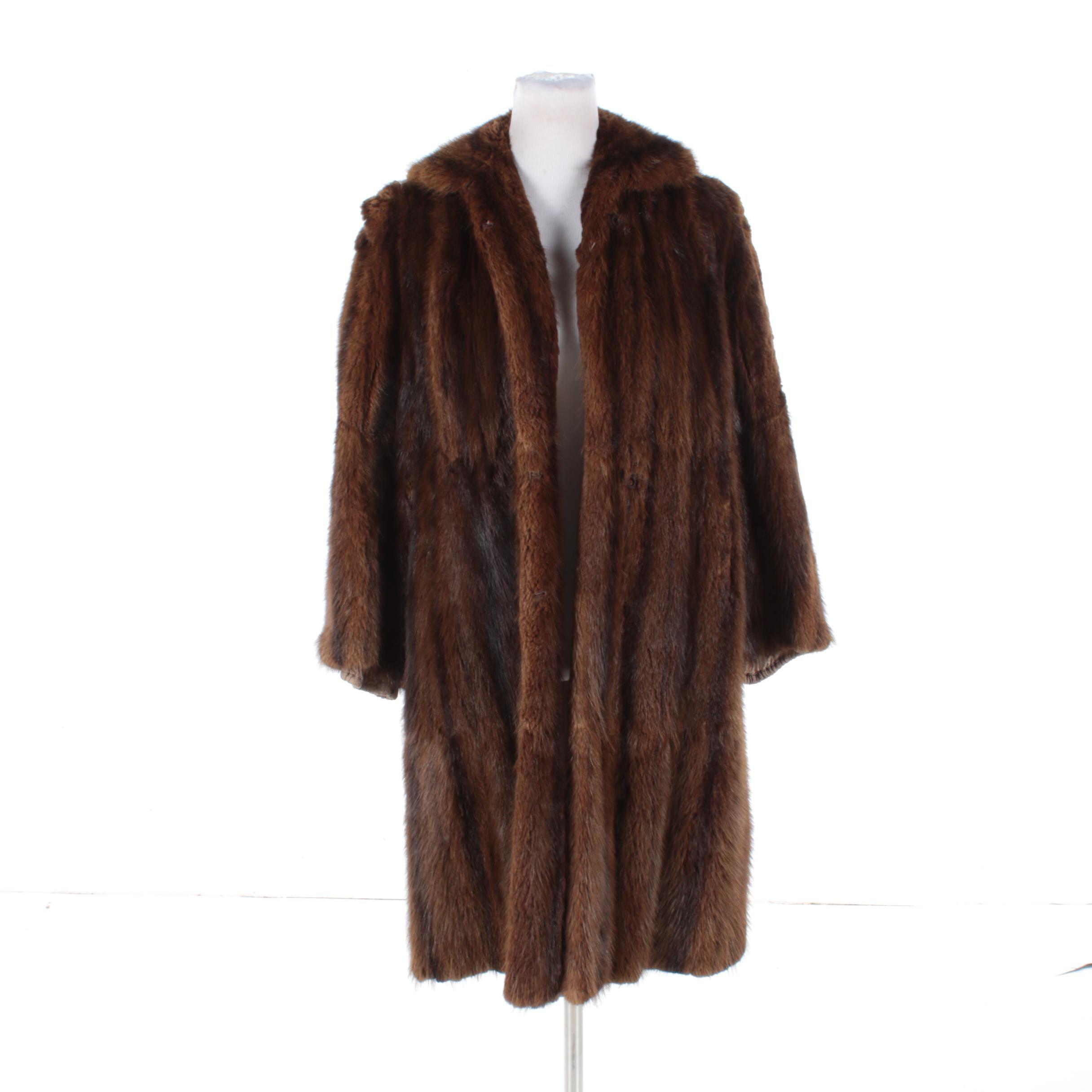 Vintage Clearfield Furs Dyed Muskrat Fur Coat
