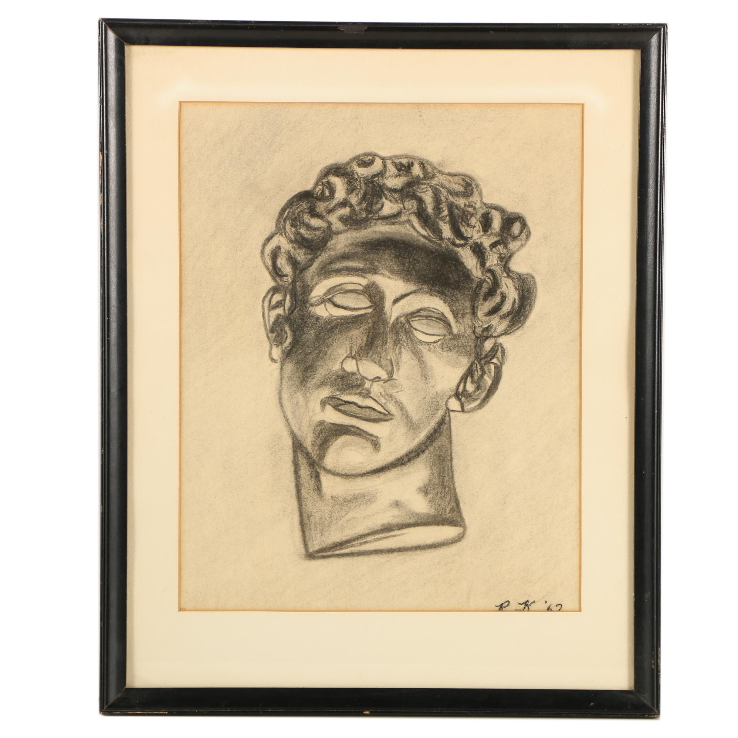 Charcoal Drawing of Male Bust