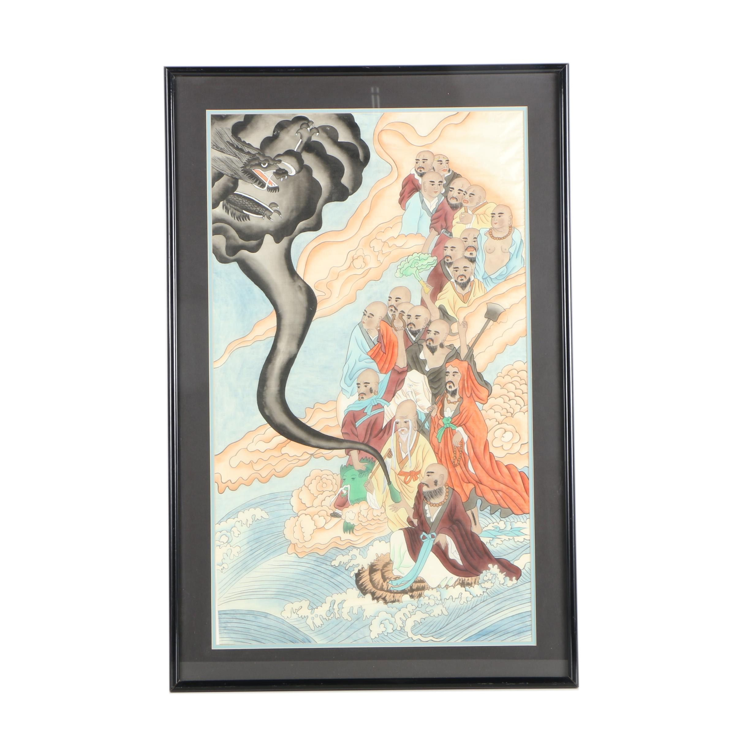 Chinese Style Watercolor Painting on Silk of Buddhist Scene