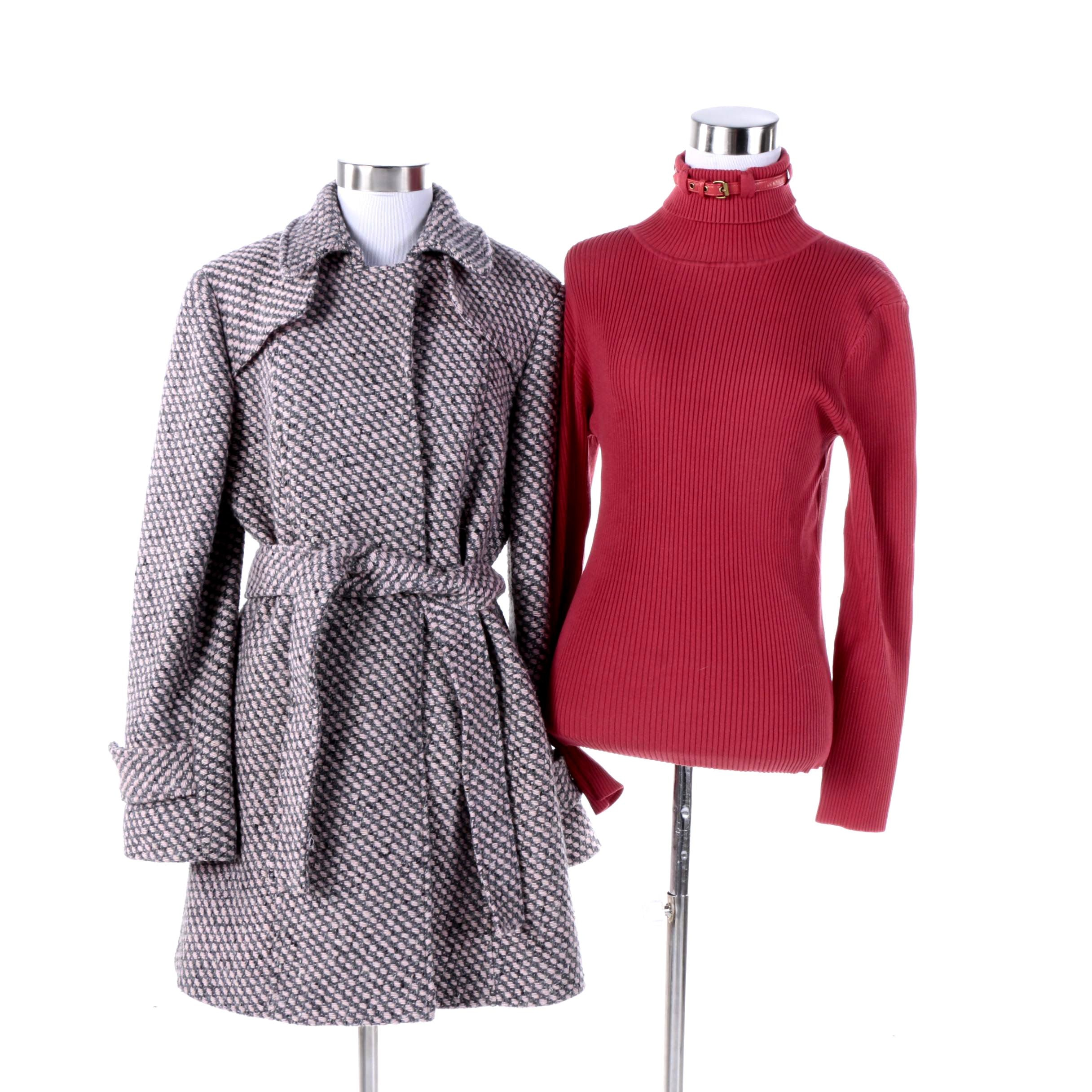 Women's Worth Belted Coat and Turtleneck Sweater