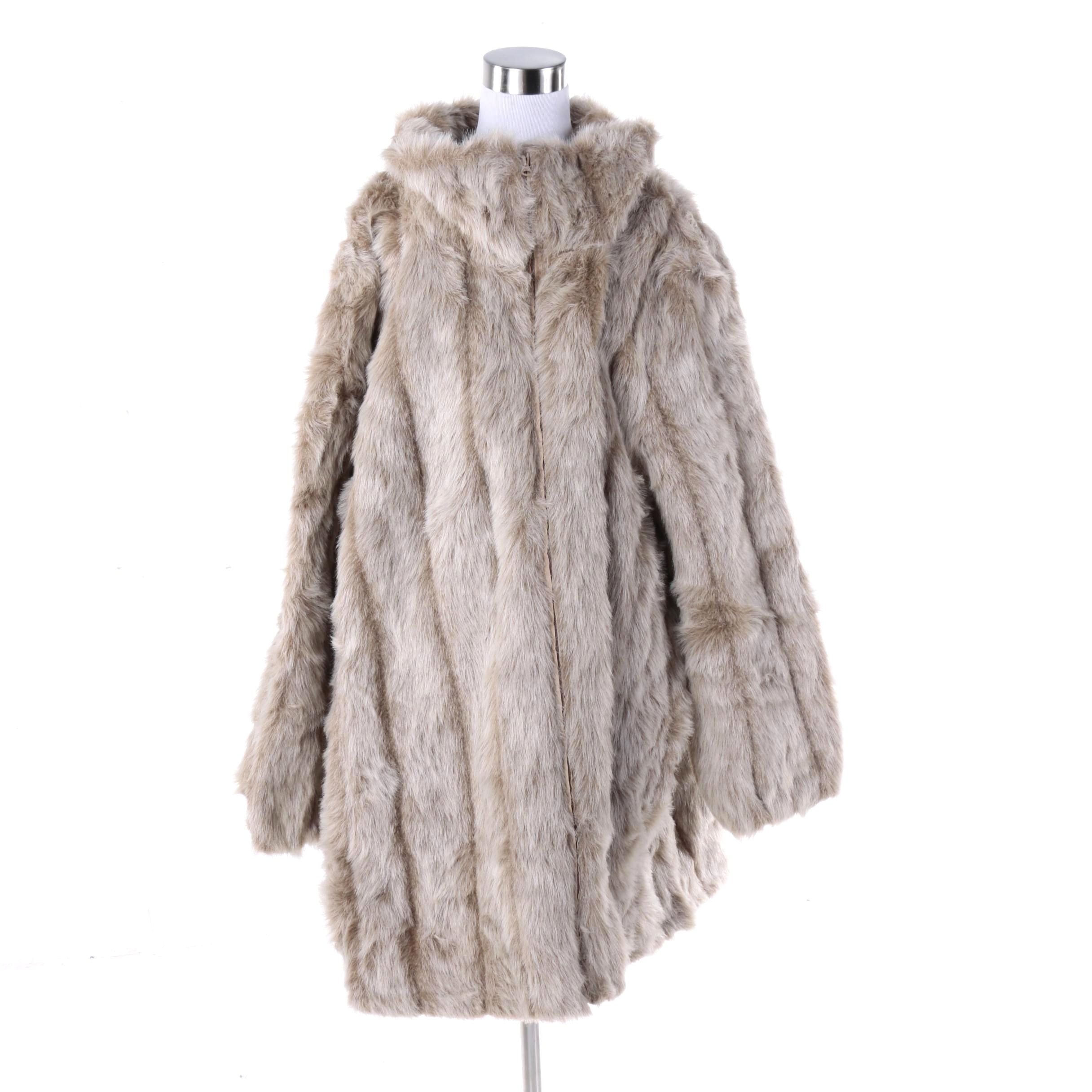 Women's Roaman's Grey Faux Fur Coat