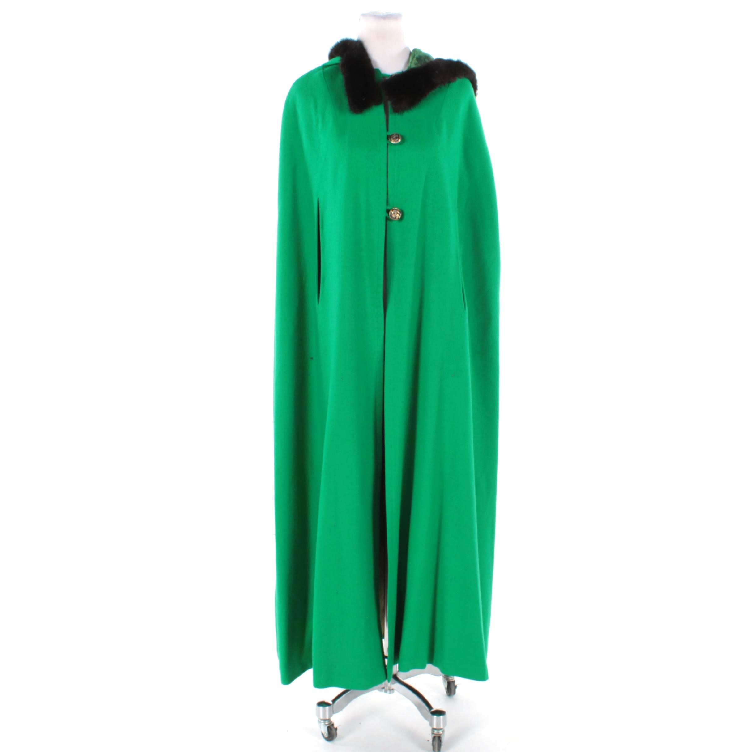 Handmade Green Cape Coat with Mink Trim