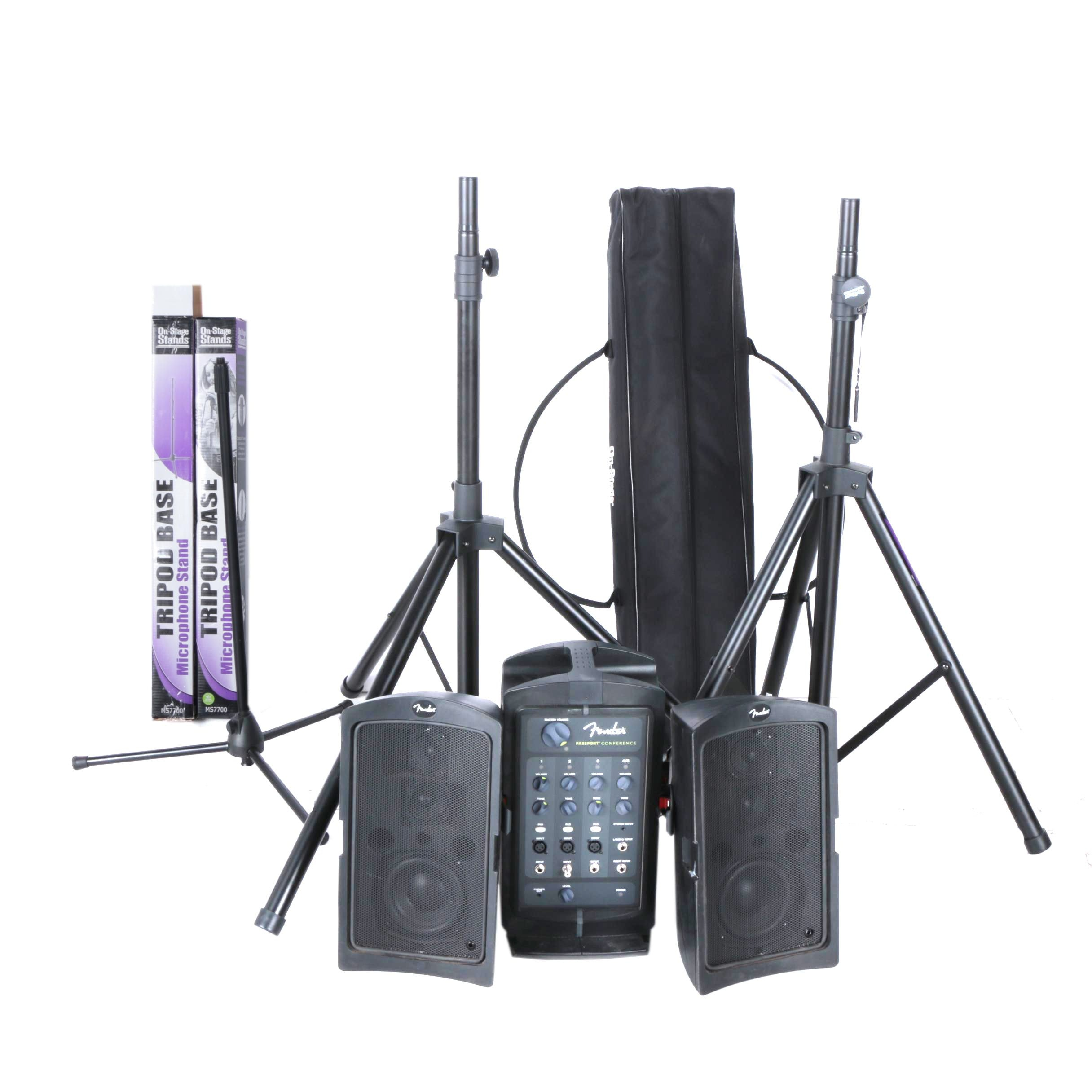 Fender Passport Conference Sound System with Microphone Stands