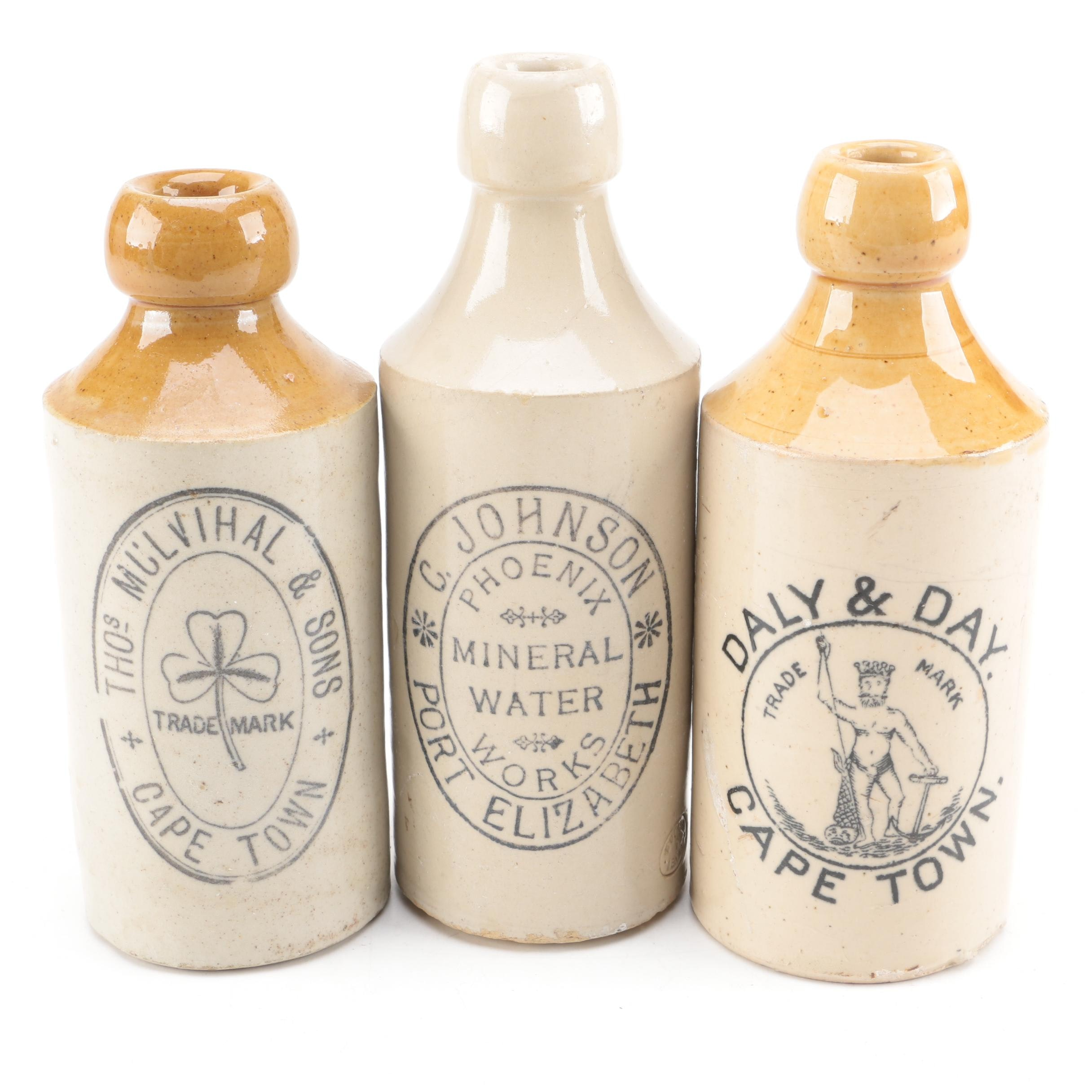 Vintage Cape Town and Port Elizabeth Stoneware Bottles