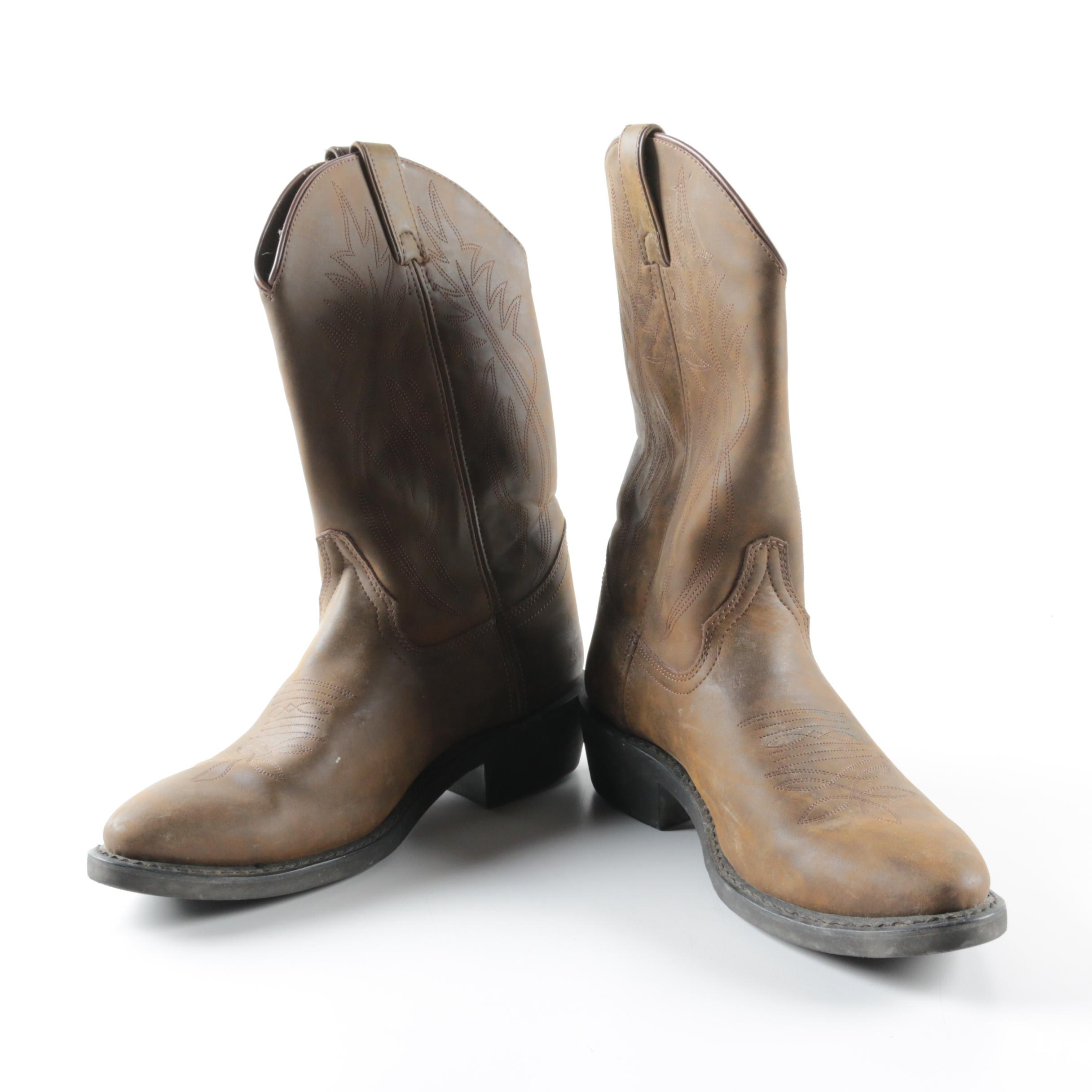 Men's Justin Brown Leather Cowboy Boots