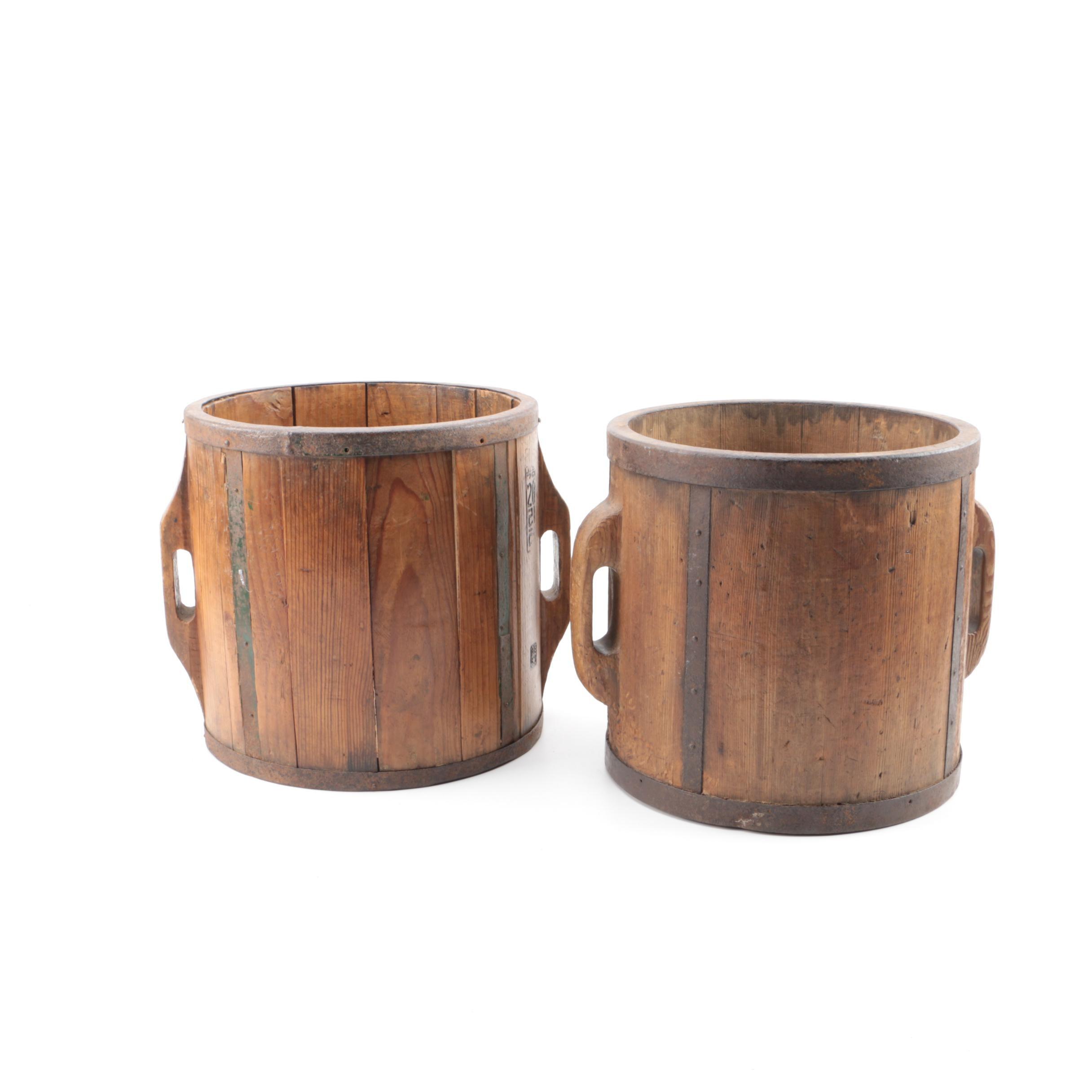 Japanese Wooden Rice Buckets