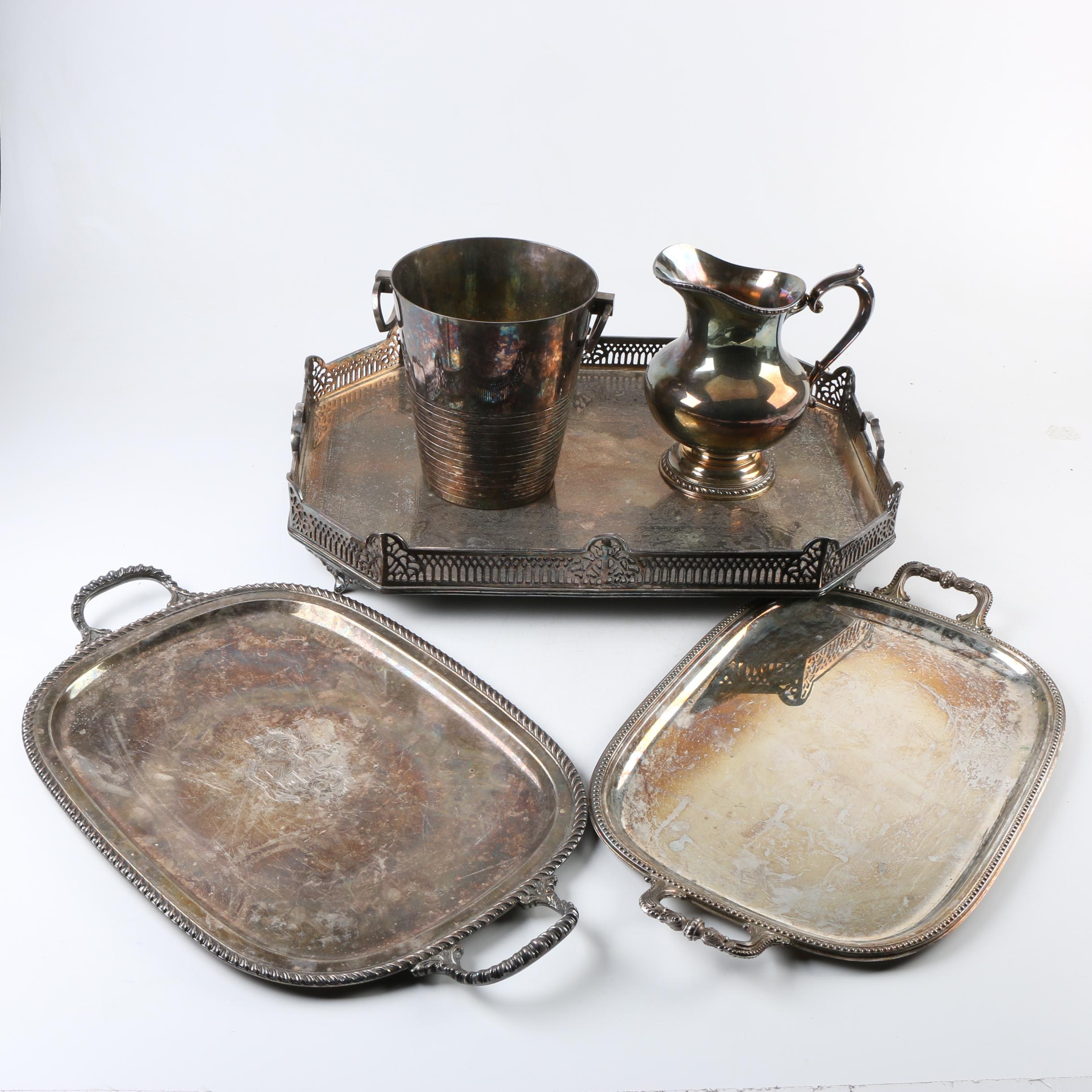 "Reed & Barton ""Old London"" Pitcher and Other Silver Plate Serveware"