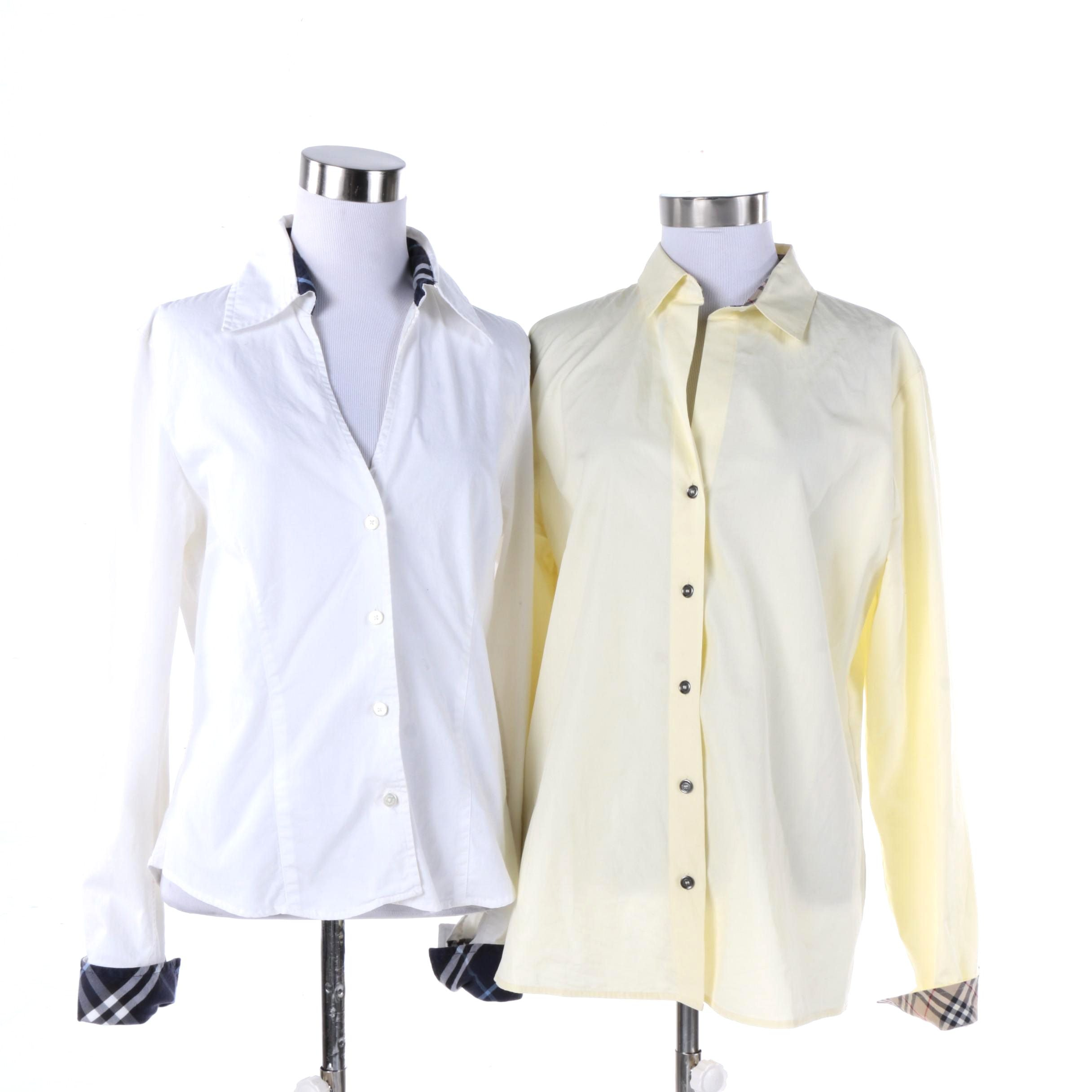 Women's Burberry Button-Front Long Sleeve Shirts