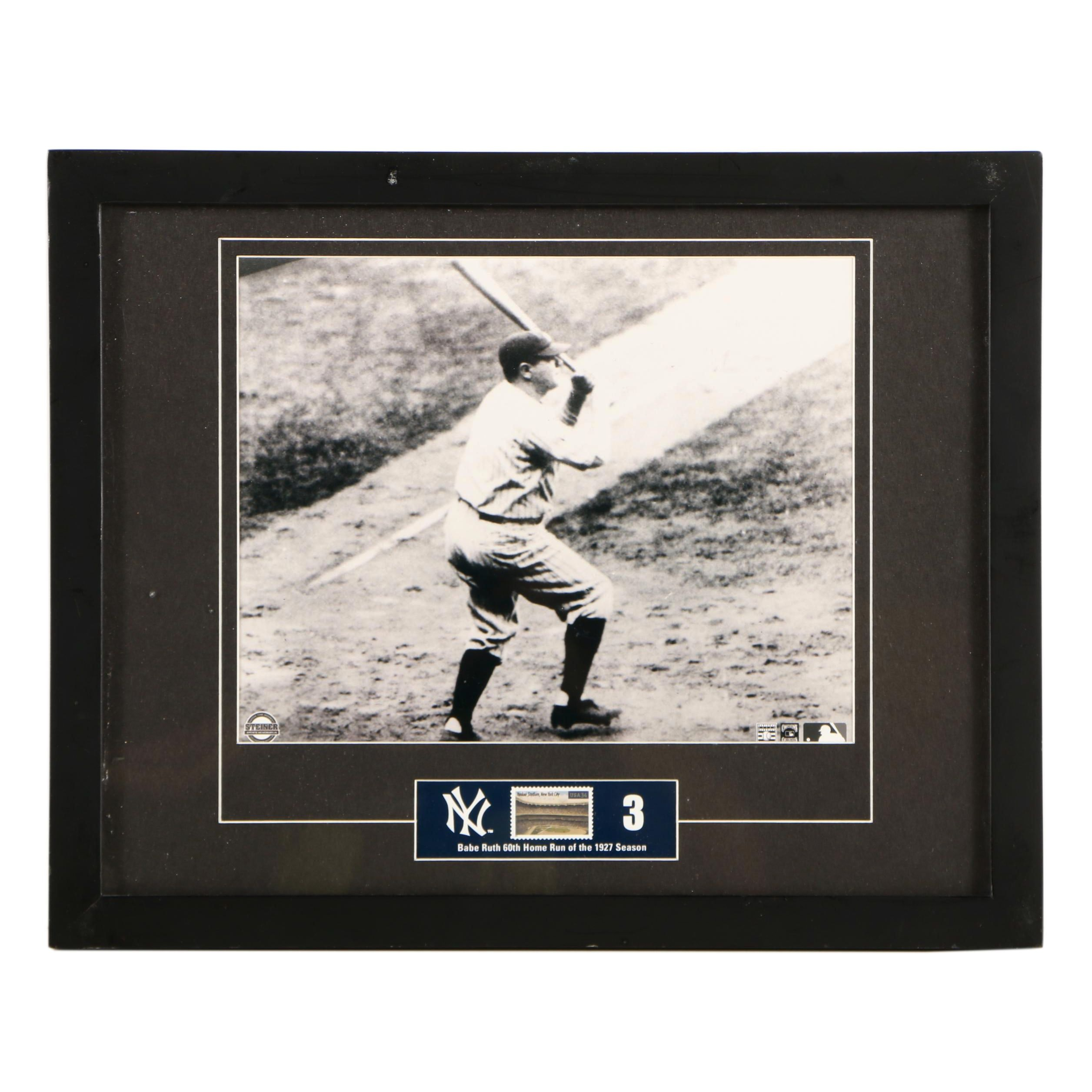 Black and White Photograph of Babe Ruth with Commemorative Stamp