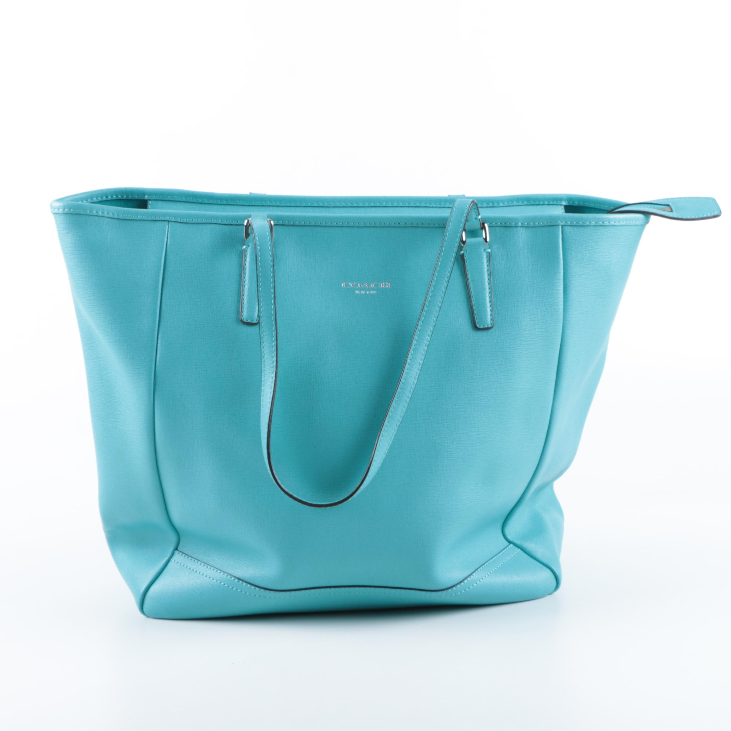Coach City Aqua Blue Saffiano Leather Tote