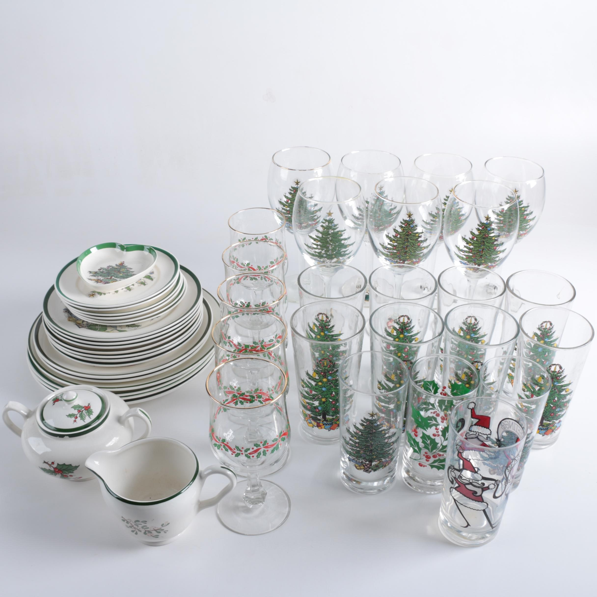 Christmas Themed Glasses Stemware and Tableware Including Spode and Cuthbertson