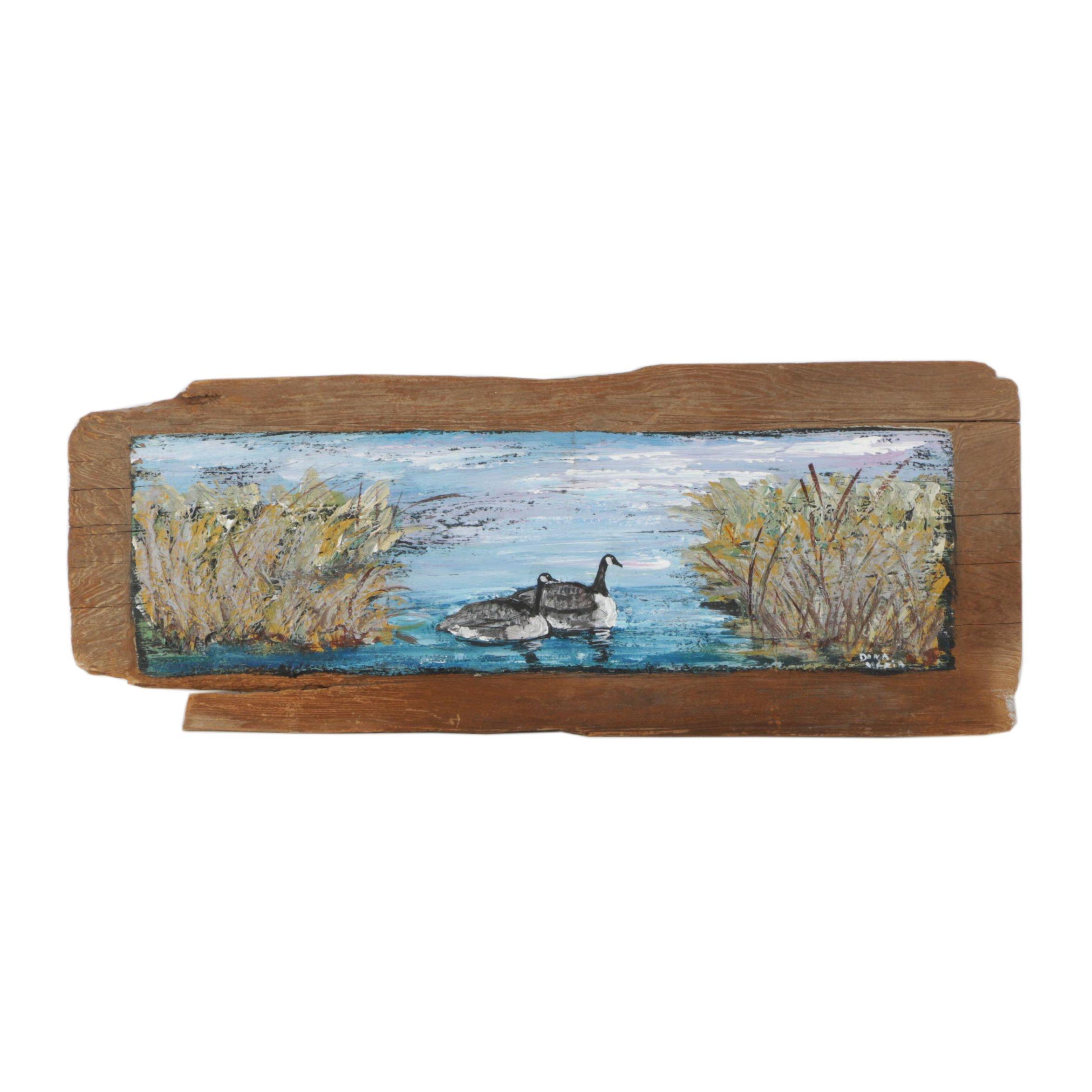 Dana Maria Oil Painting on Wood Plank
