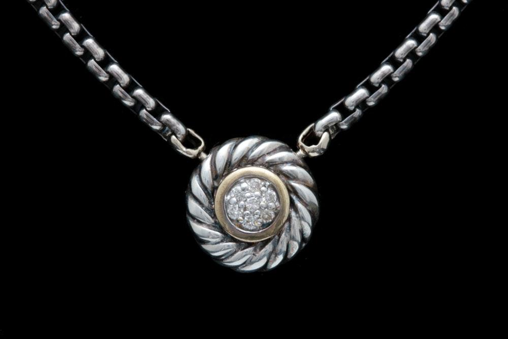 David Yurman Sterling Silver, 18K Yellow Gold and Diamond Pendant Necklace