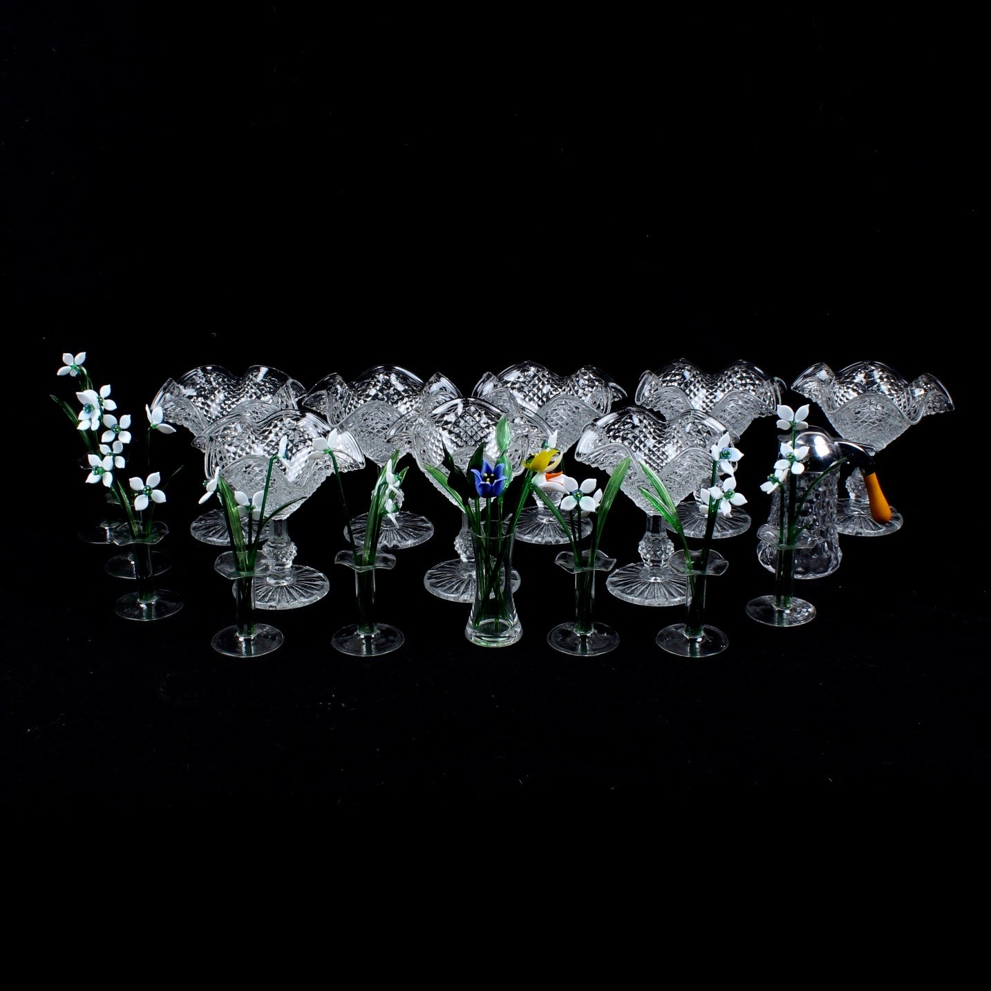 Pressed Glass Ice Cream Bowls and Glass Flowers