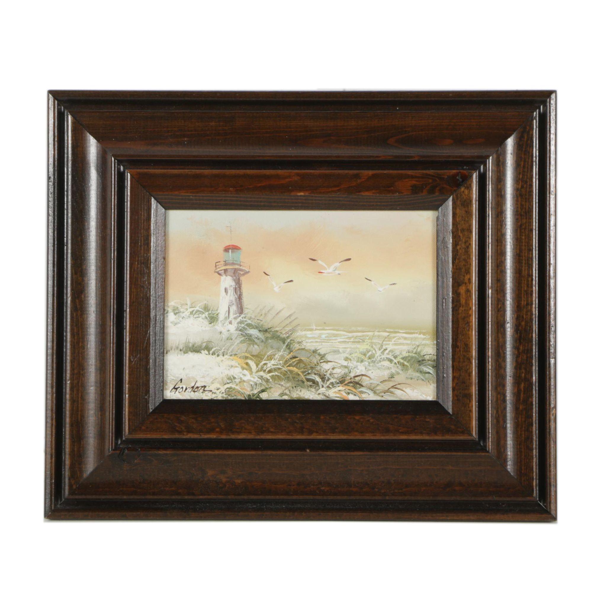 Gordon Oil Painting of Beach Scene