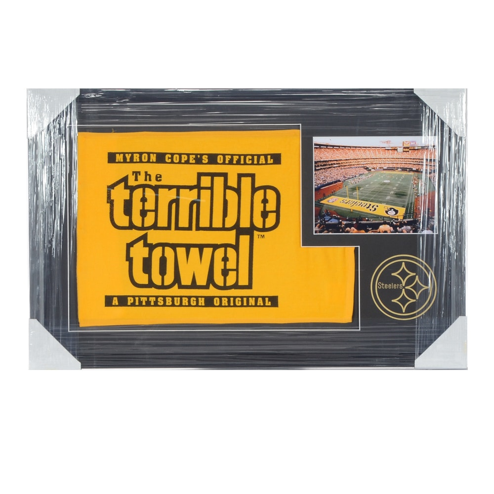 """Pittsburgh Steelers """"Terrible Towel"""" Matted and Framed NFL Football Display"""
