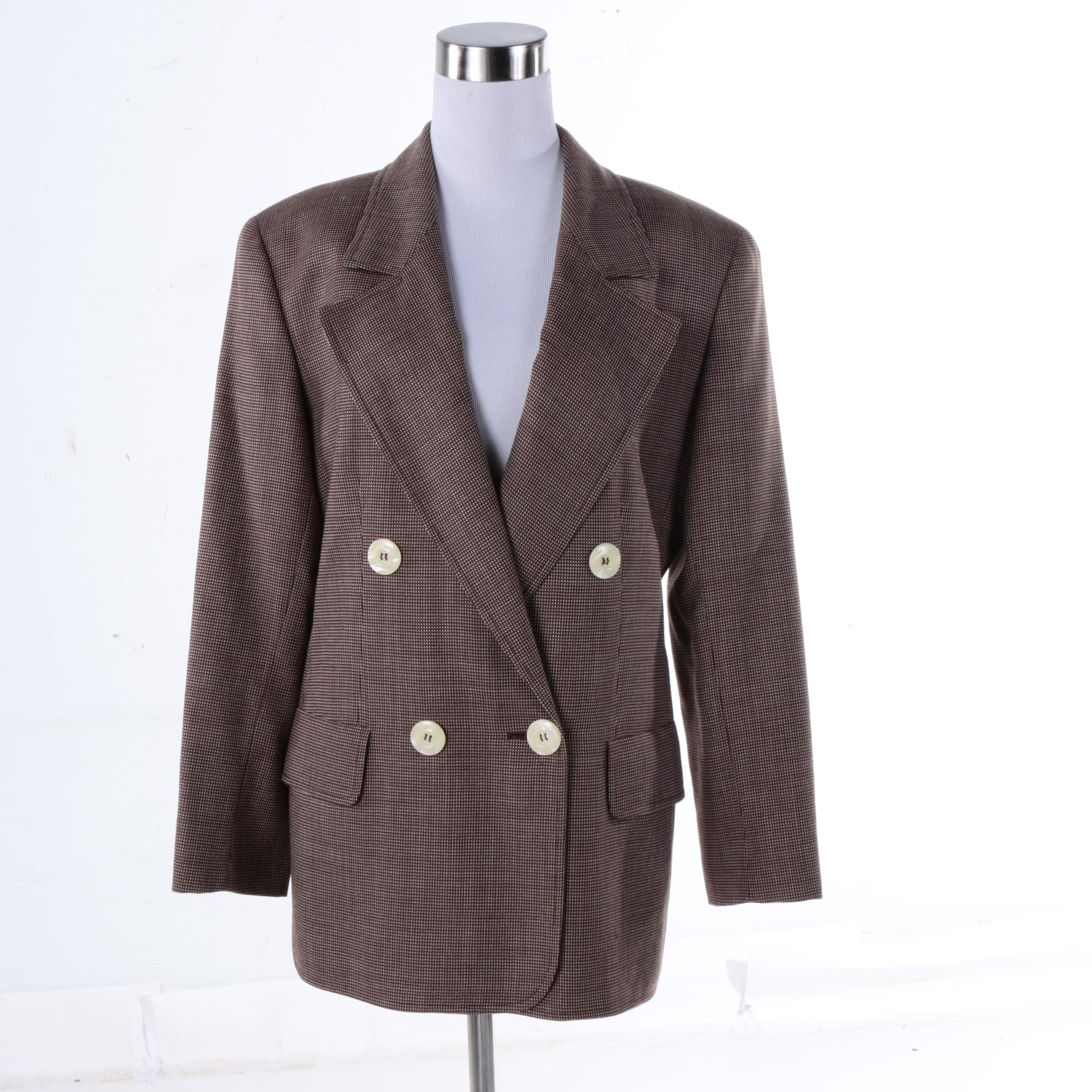 Women's Valentino Miss V Double-Breasted Wool Blend Suit Jacket