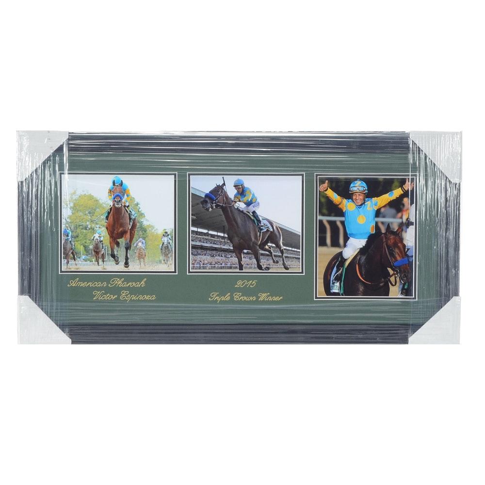 """2015 American Pharoah """"Triple Crown"""" Winner Horse Racing Framed Print"""