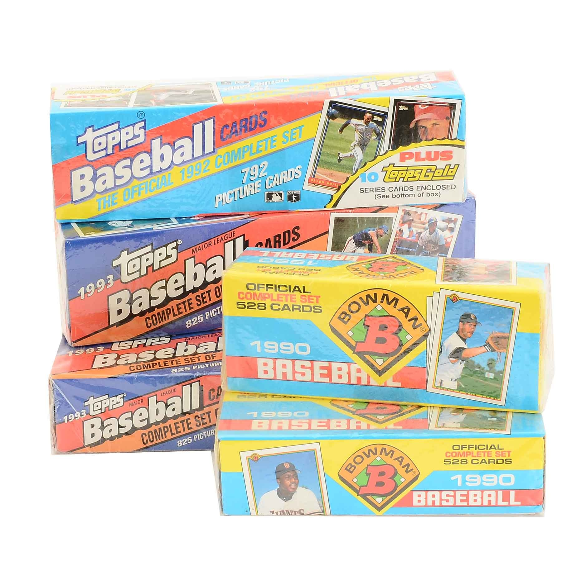 Six Sealed Sets Of 1990-1993 Bowman and Topps Baseball Cards