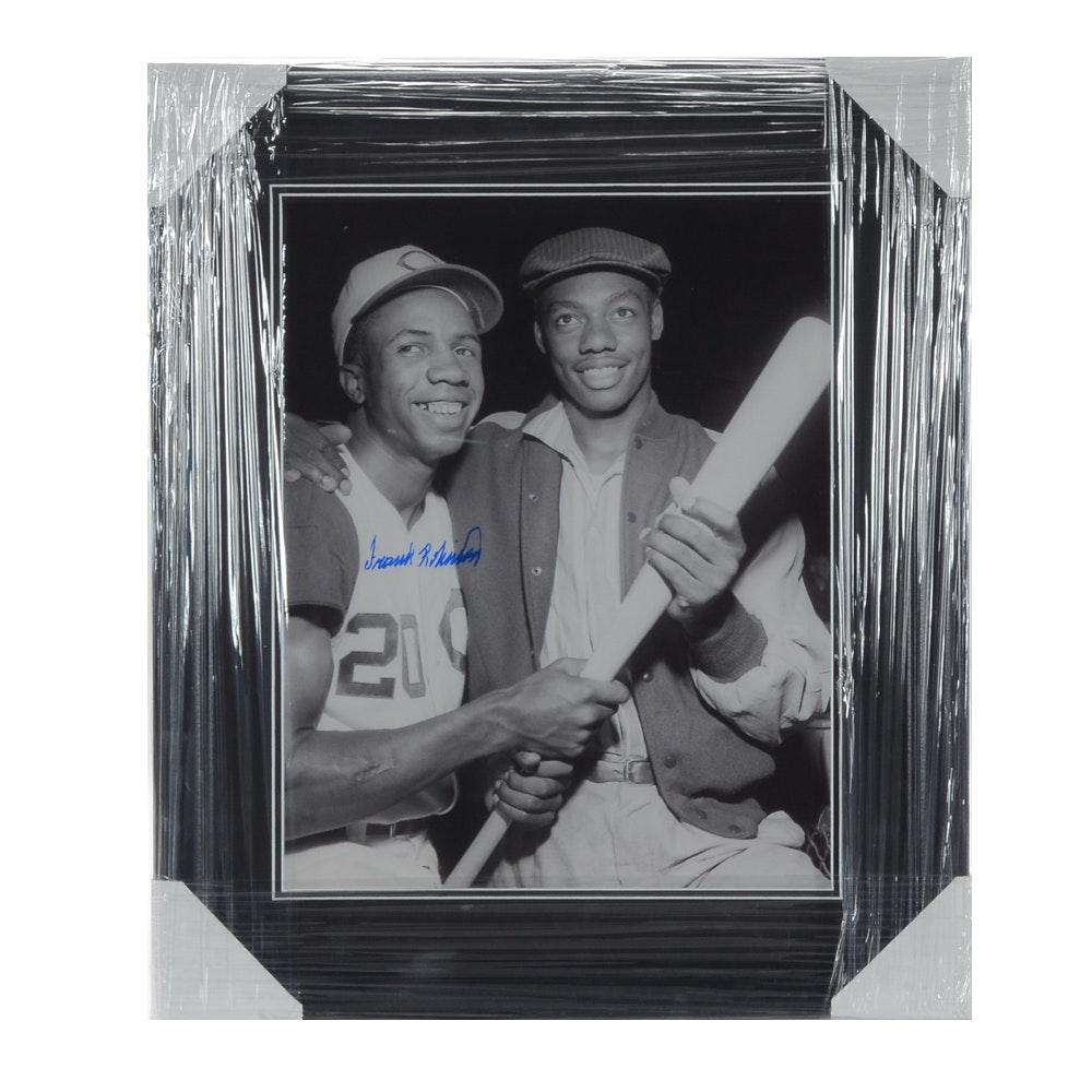 Signed Frank Robinson Baseball Framed Print With Oscar Robertson