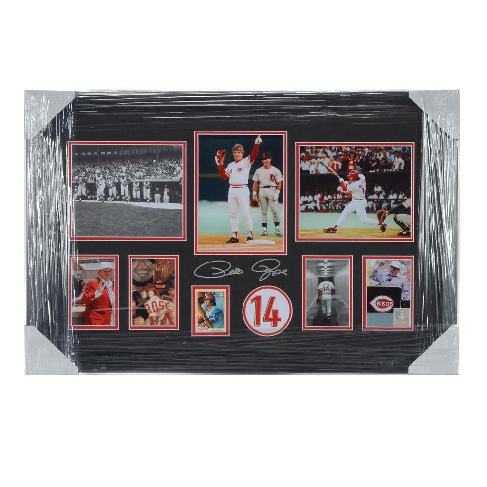 Pete Rose Autographed Cincinnati Reds Framed Baseball Display CEI COA
