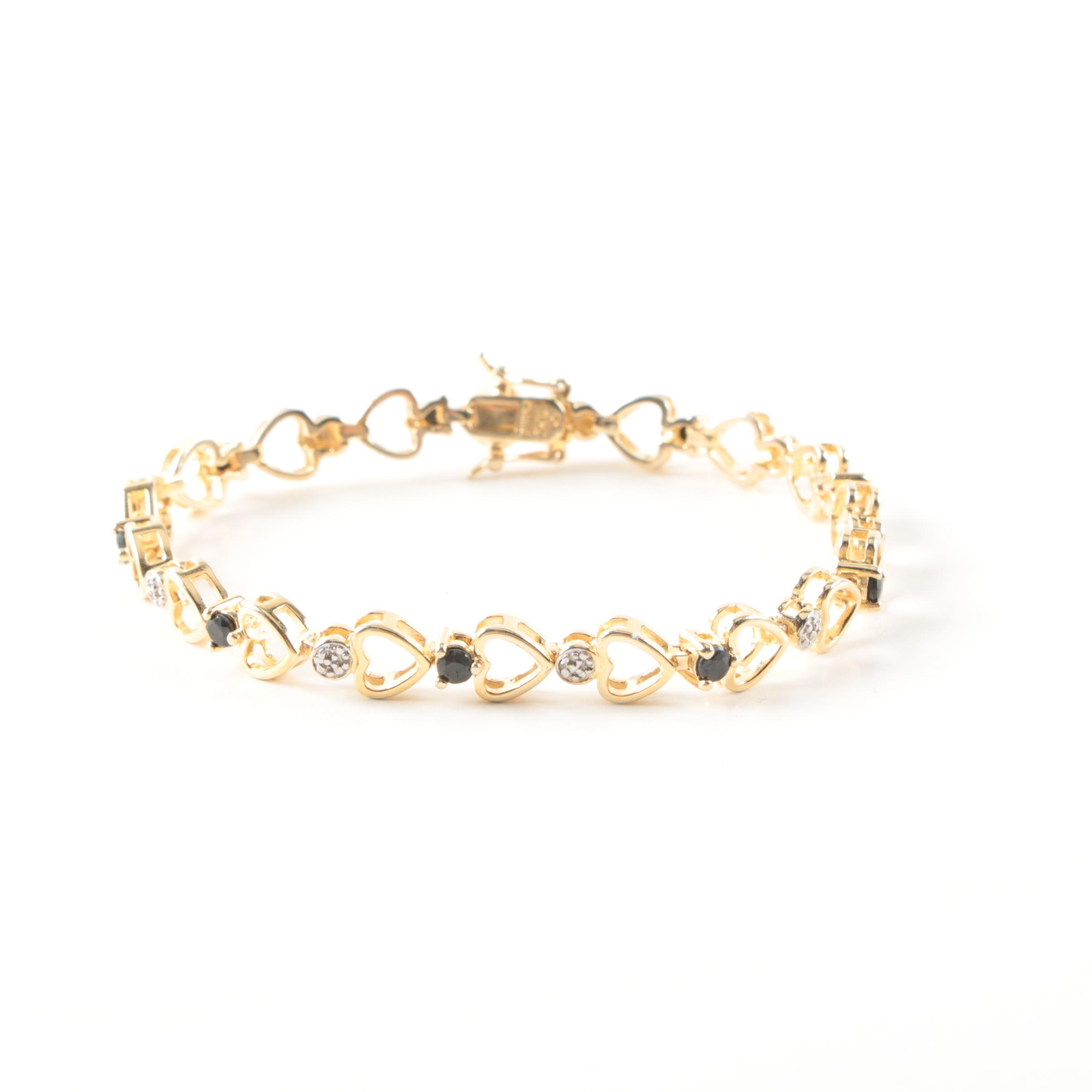 Gold Wash Sterling Silver and Sapphire Heart Motif Bracelet