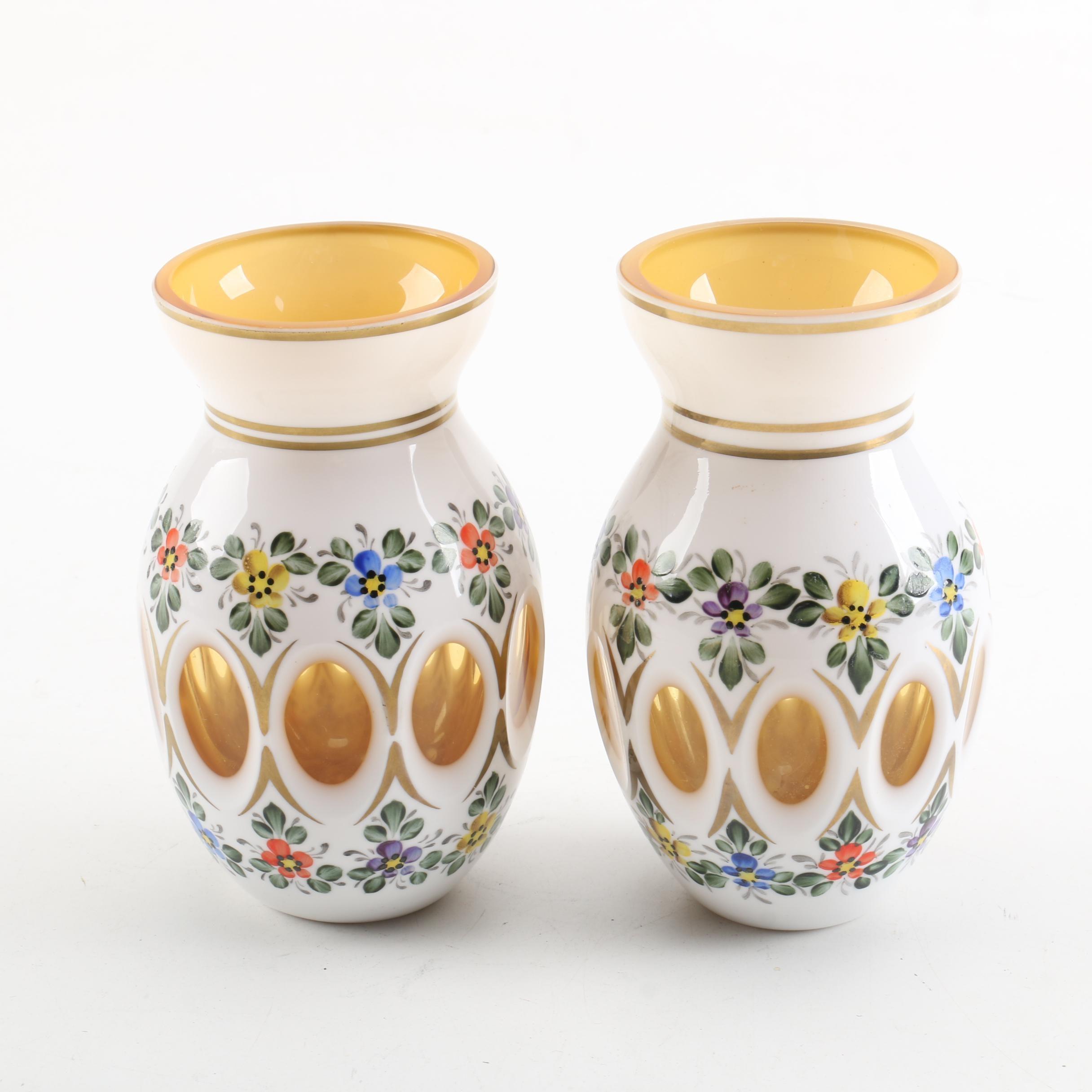 Pair of Bohemian Cased Amber Vases