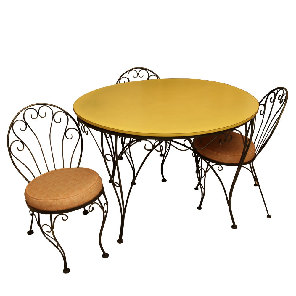 Vintage French Style Dining Table with Chairs