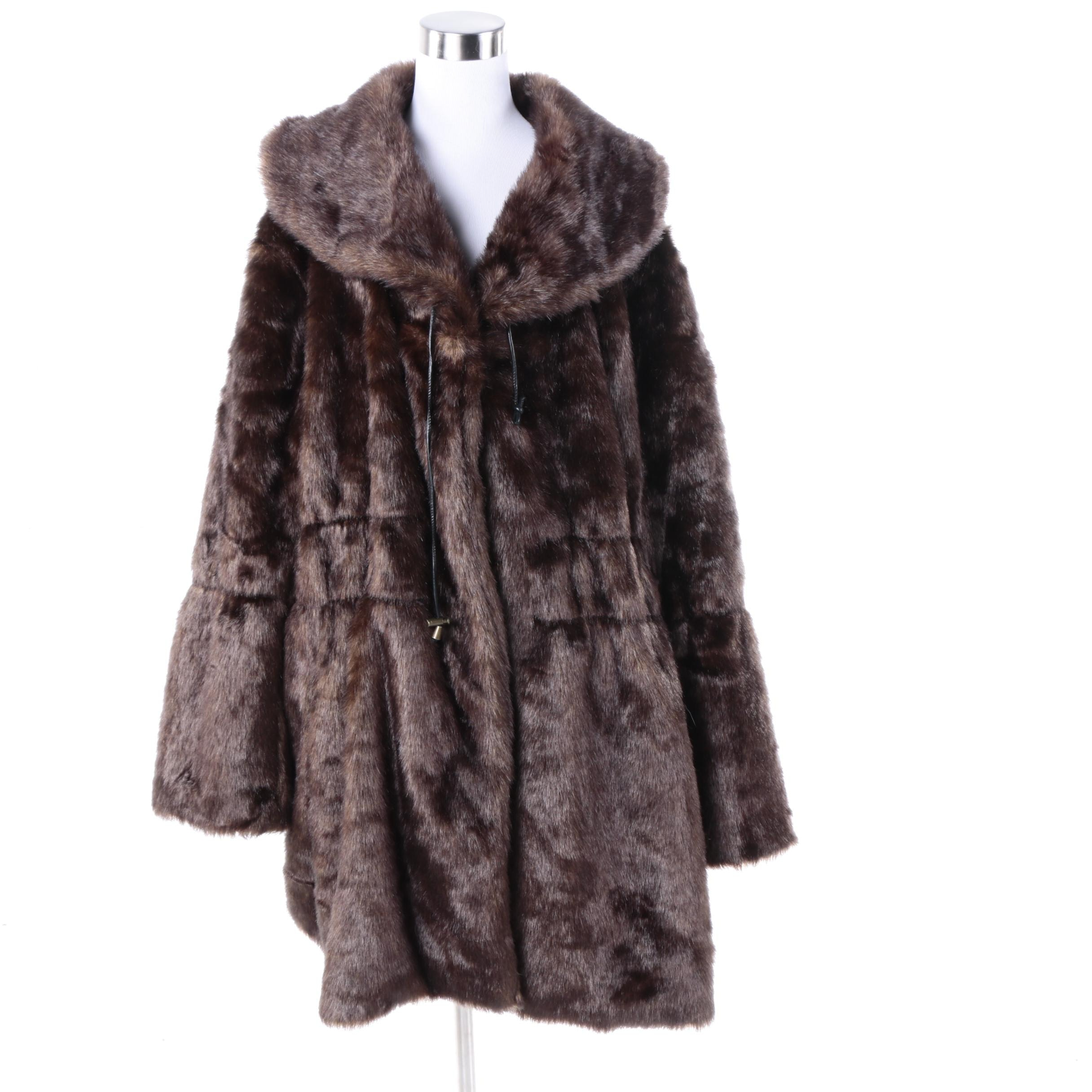 Women's Woman Within Brown Faux Fur Coat