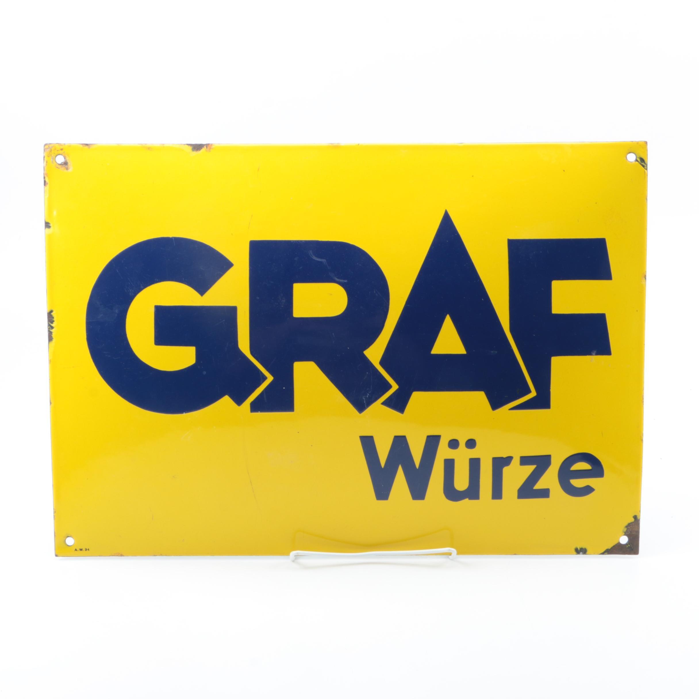 Metal and Enamel German Sign