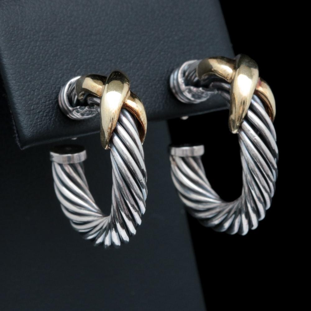 David Yurman Sterling Silver, and 14K Yellow Gold Hoop Earrings